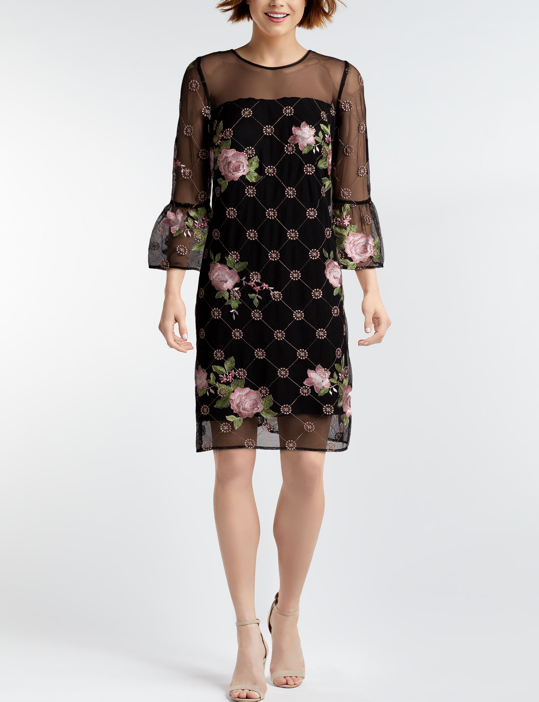 Madison Leigh Black Floral Everyday & Casual Shift Dresses