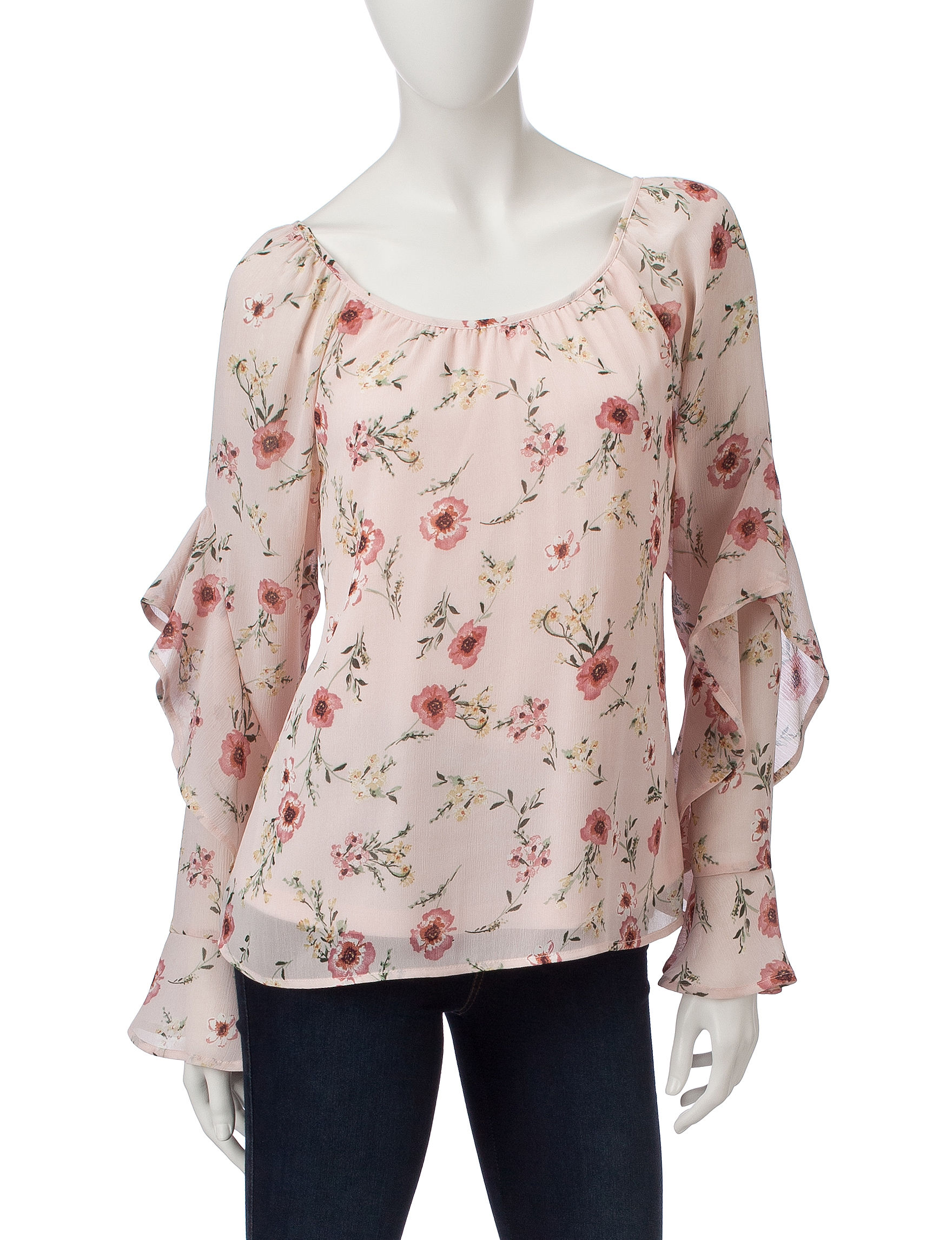 Heart Soul Pink Floral Shirts & Blouses