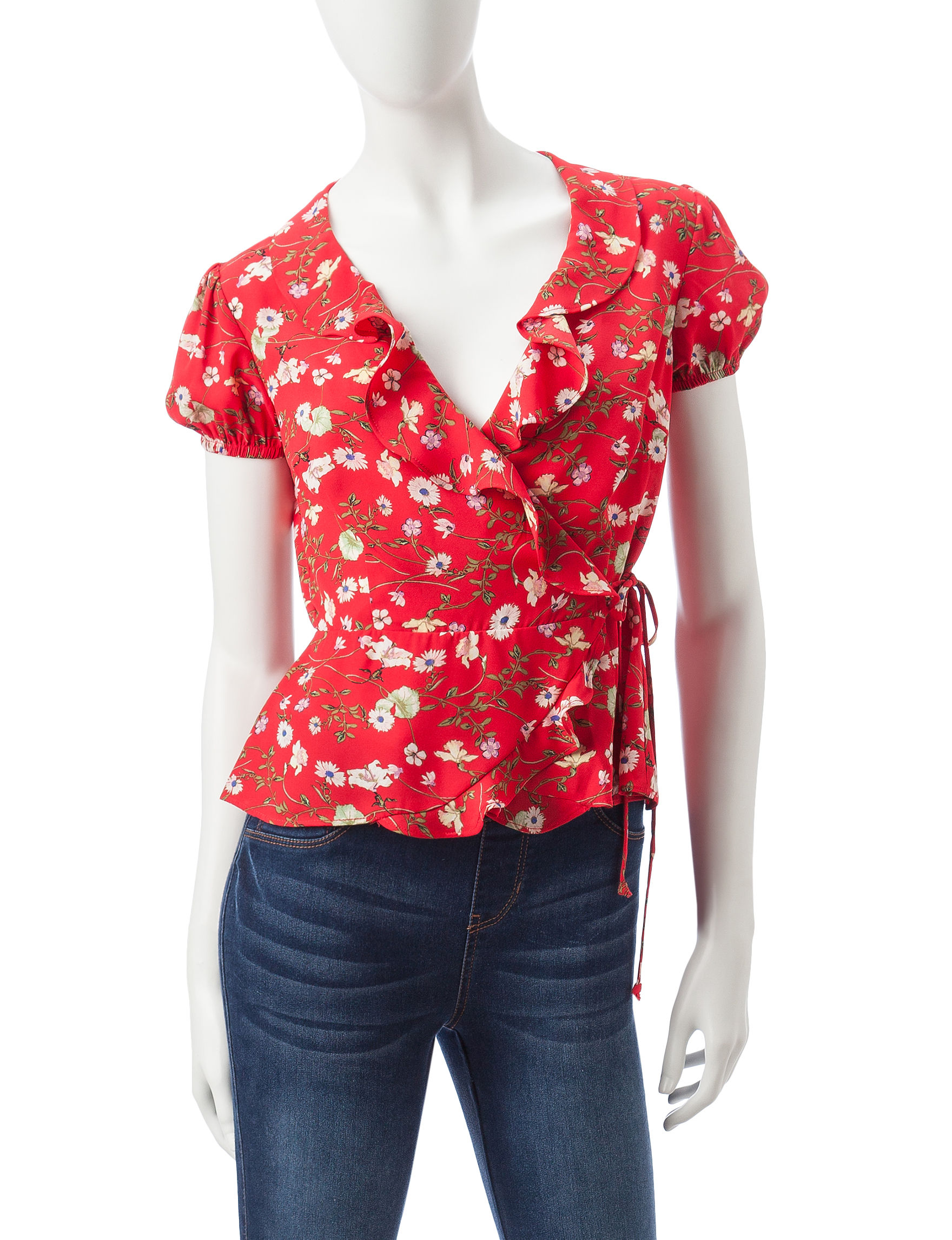 Heart Soul Red Floral Shirts & Blouses