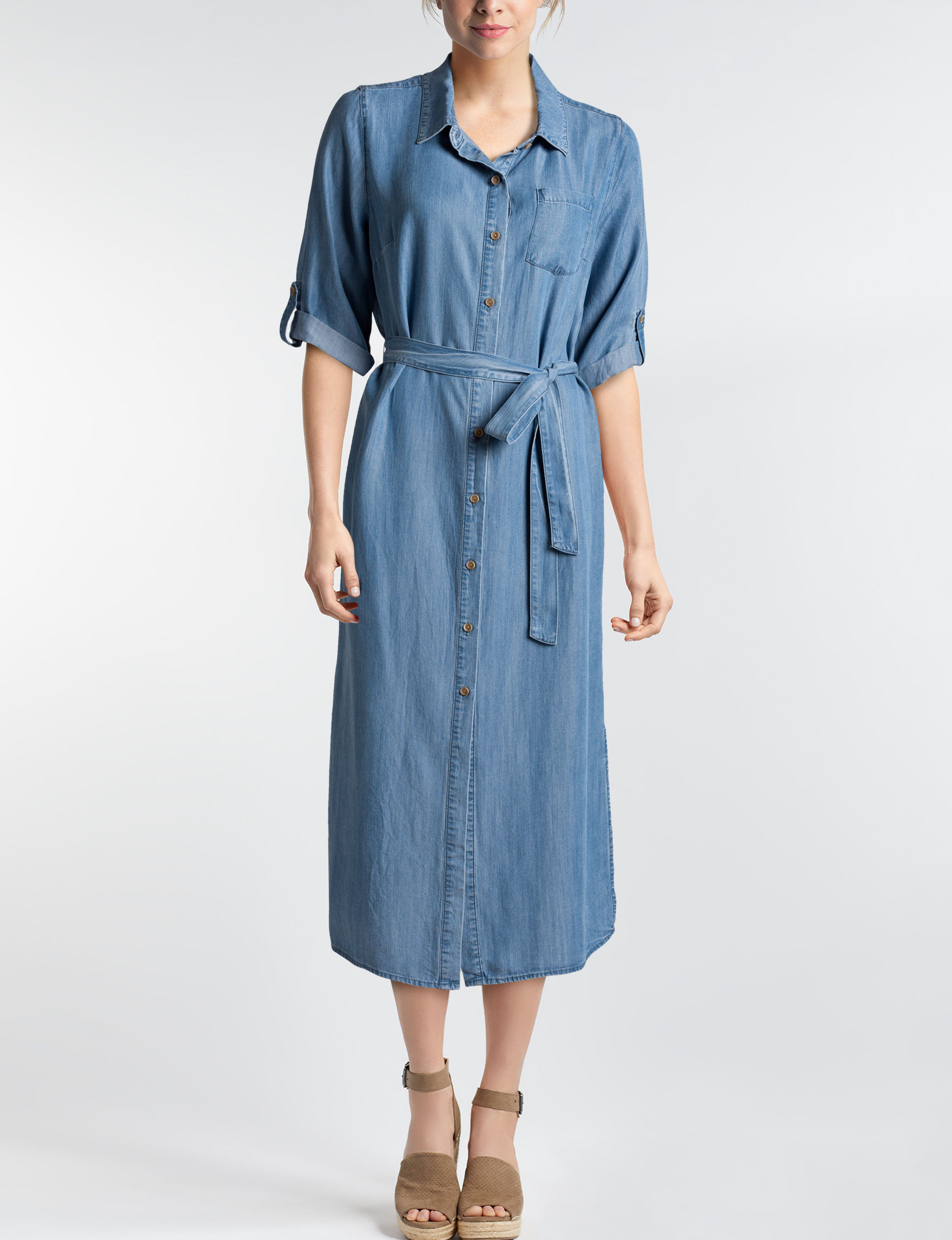 Glamour Chambray Everyday & Casual Shirt Dresses