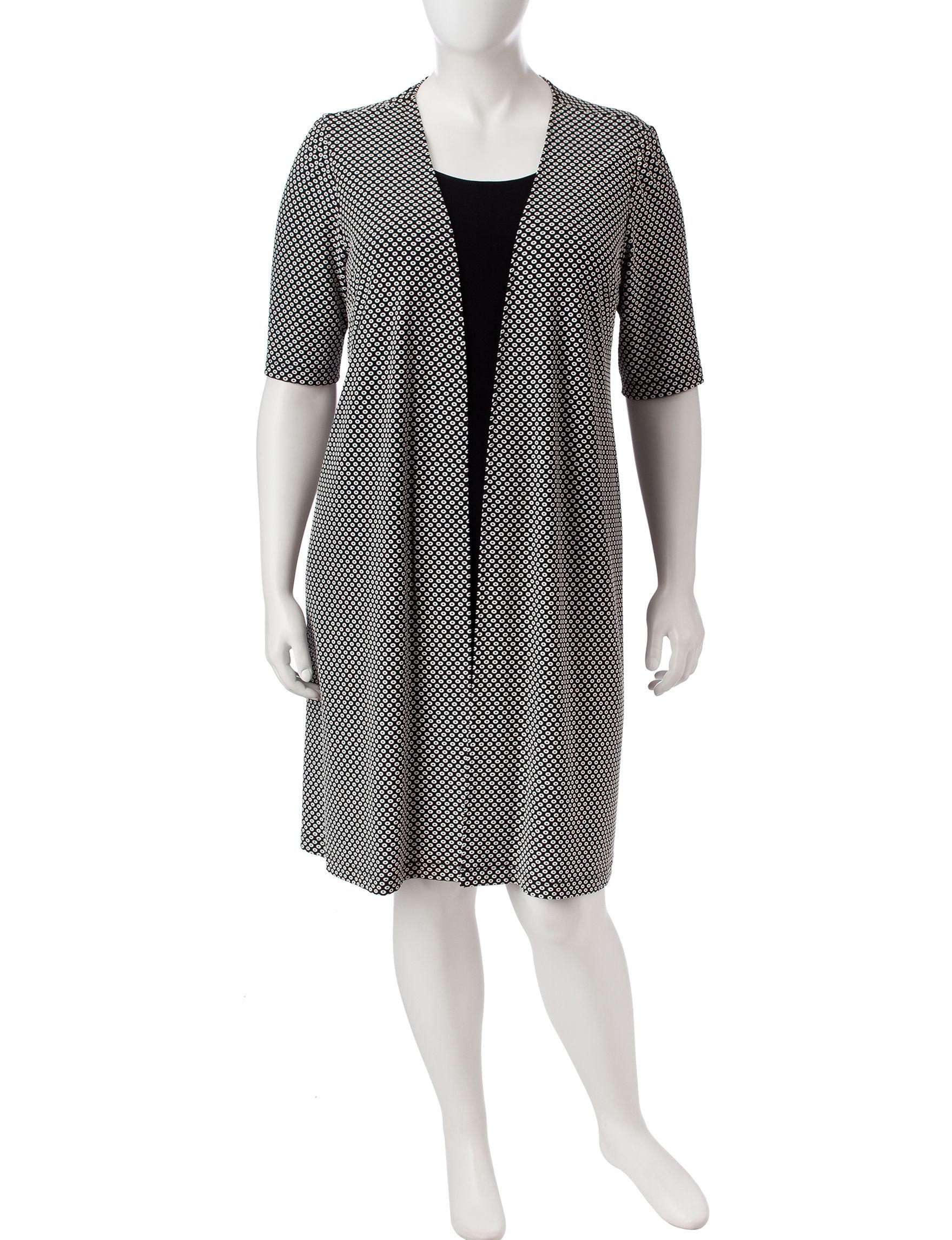 Perceptions Black /  White Everyday & Casual Jacket Dresses