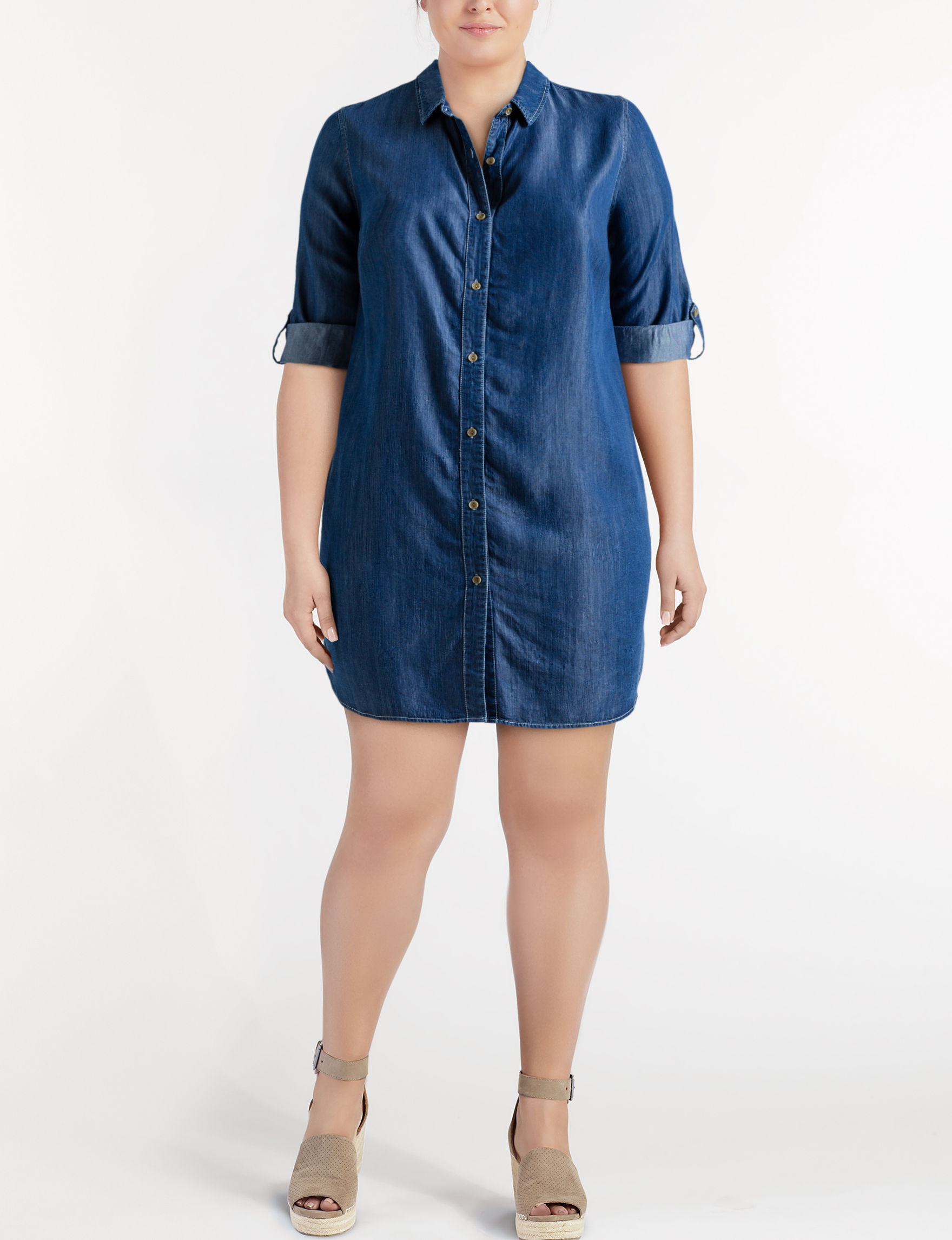 JM Studio Denim Everyday & Casual Shirt Dresses