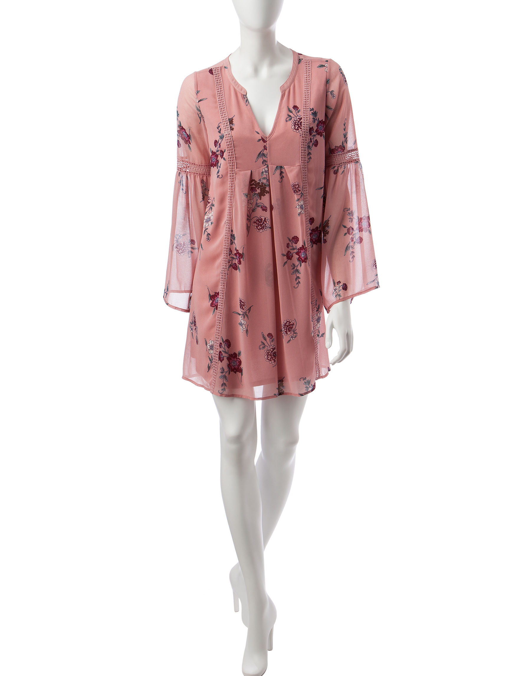My Michelle Pink Floral Cocktail & Party Everyday & Casual Shift Dresses