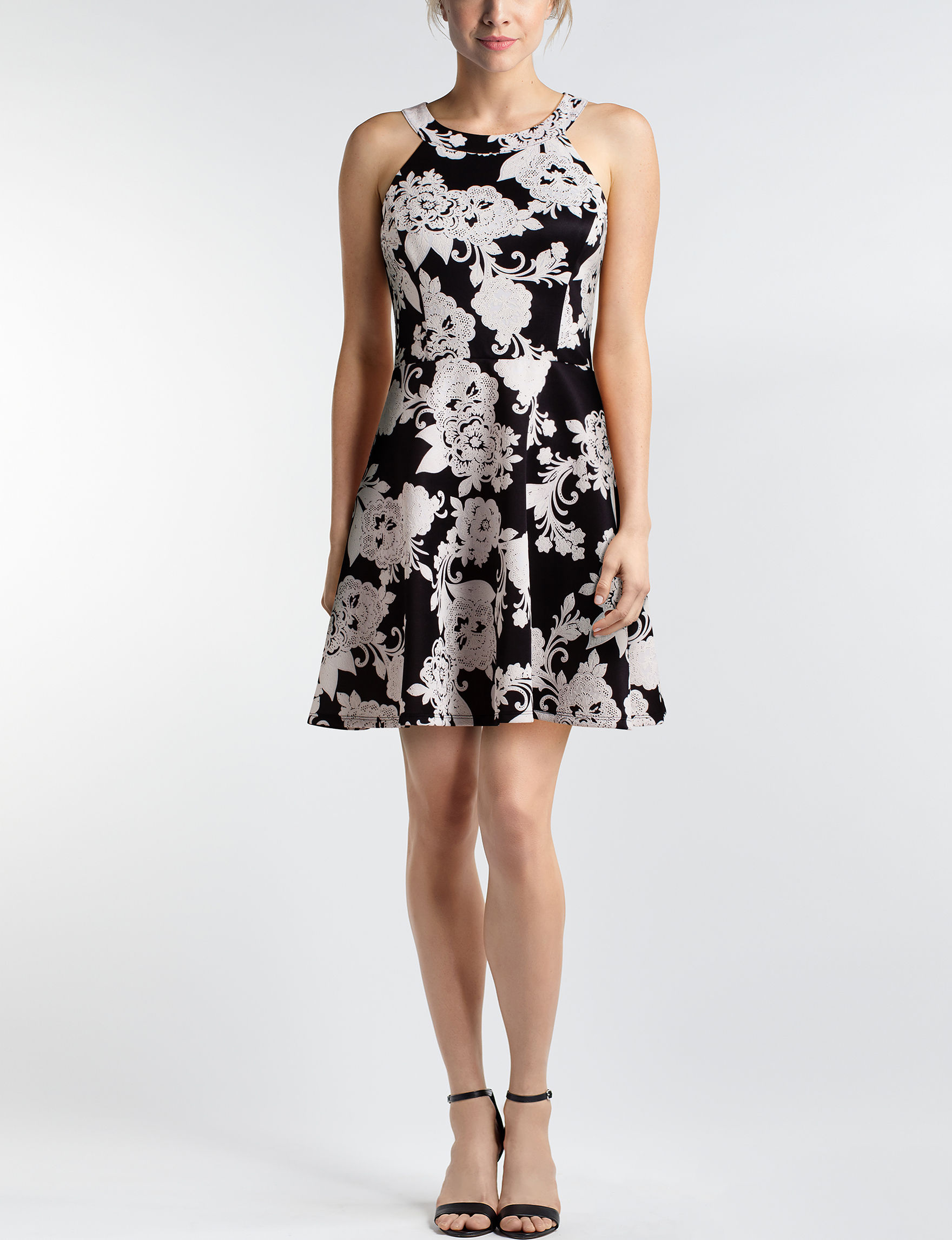 Trixxi Black / White Fit & Flare Dresses