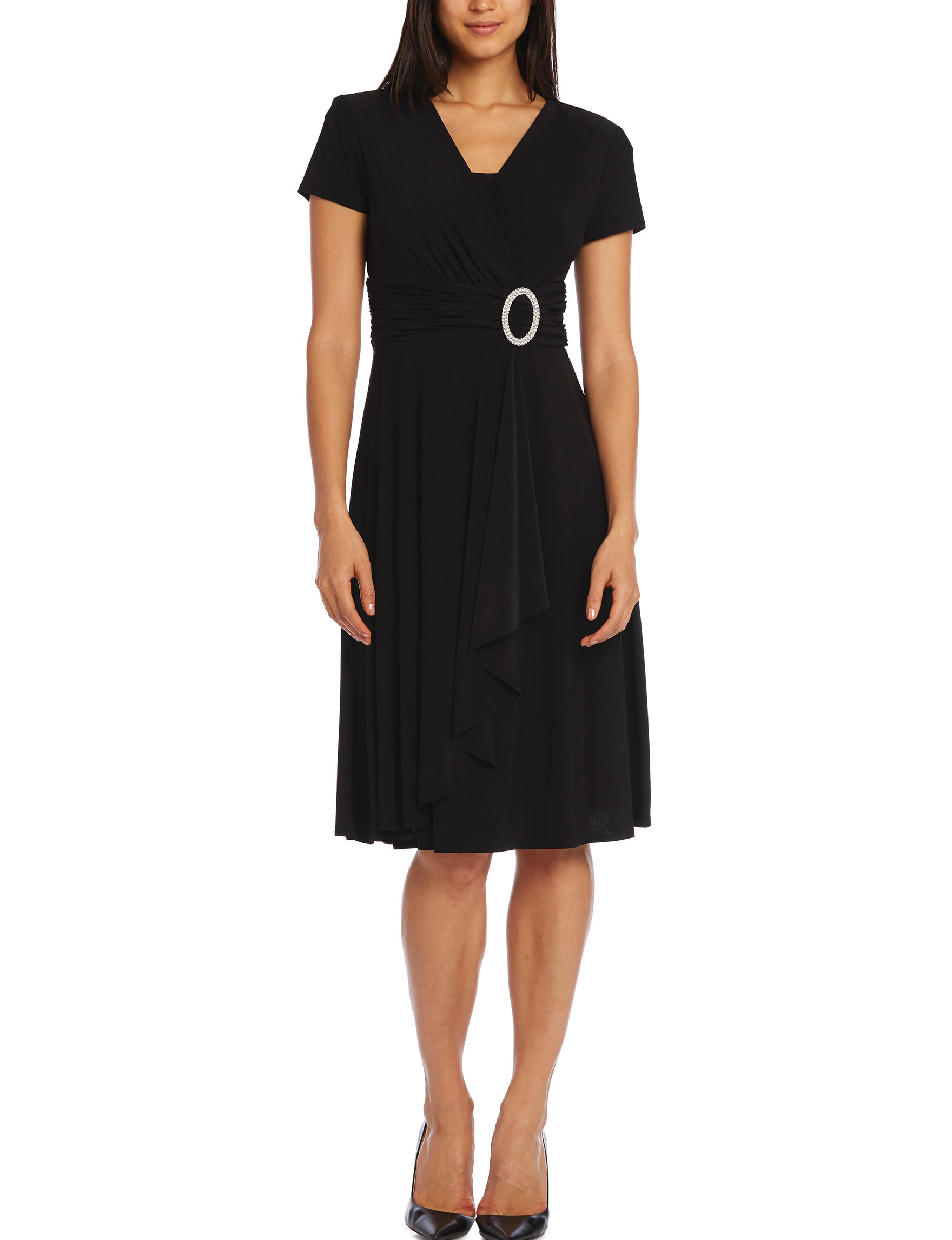 R & M Richards Black Cocktail & Party Evening & Formal A-line Dresses Fit & Flare Dresses