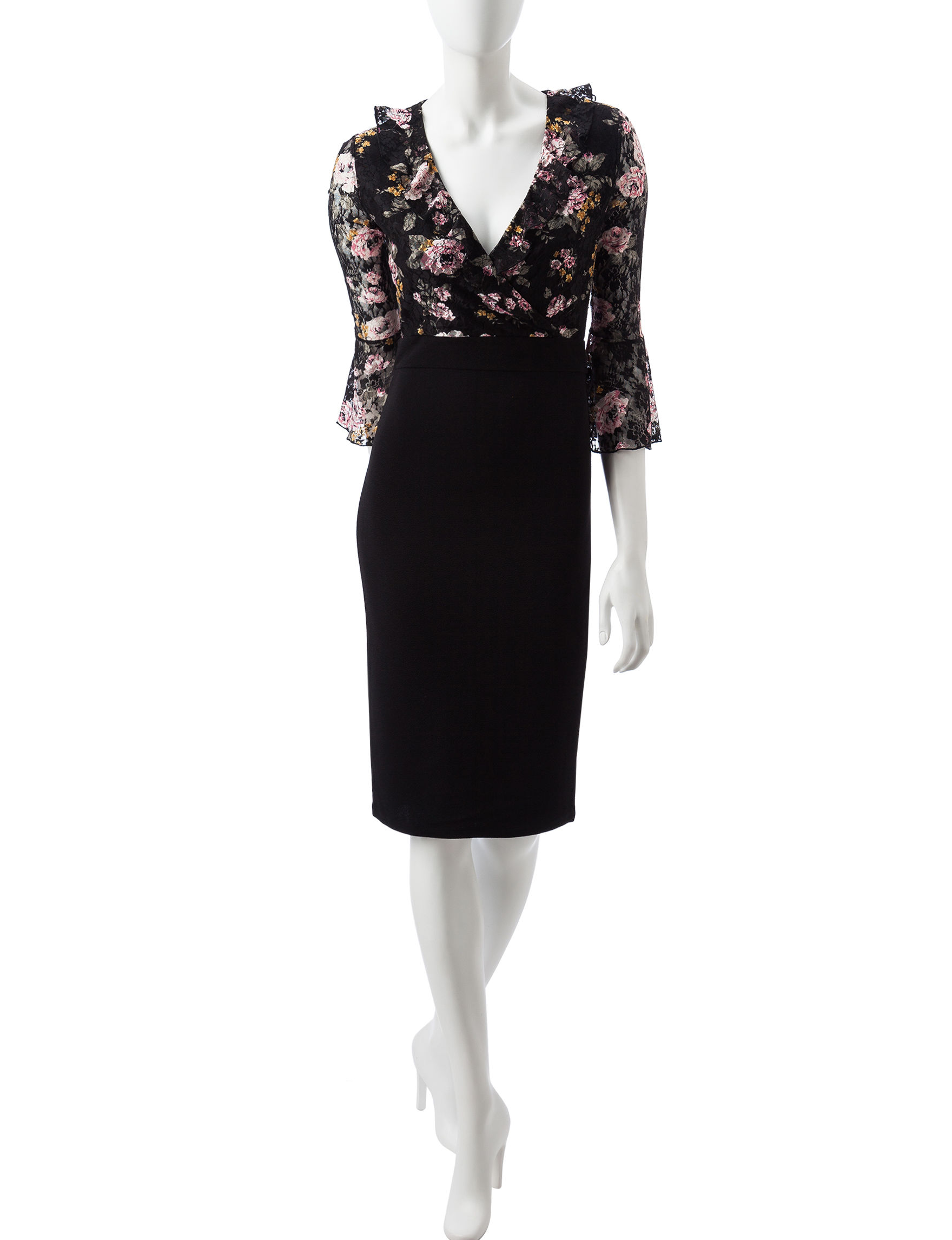 Almost Famous Pink / Black Evening & Formal Everyday & Casual Sheath Dresses