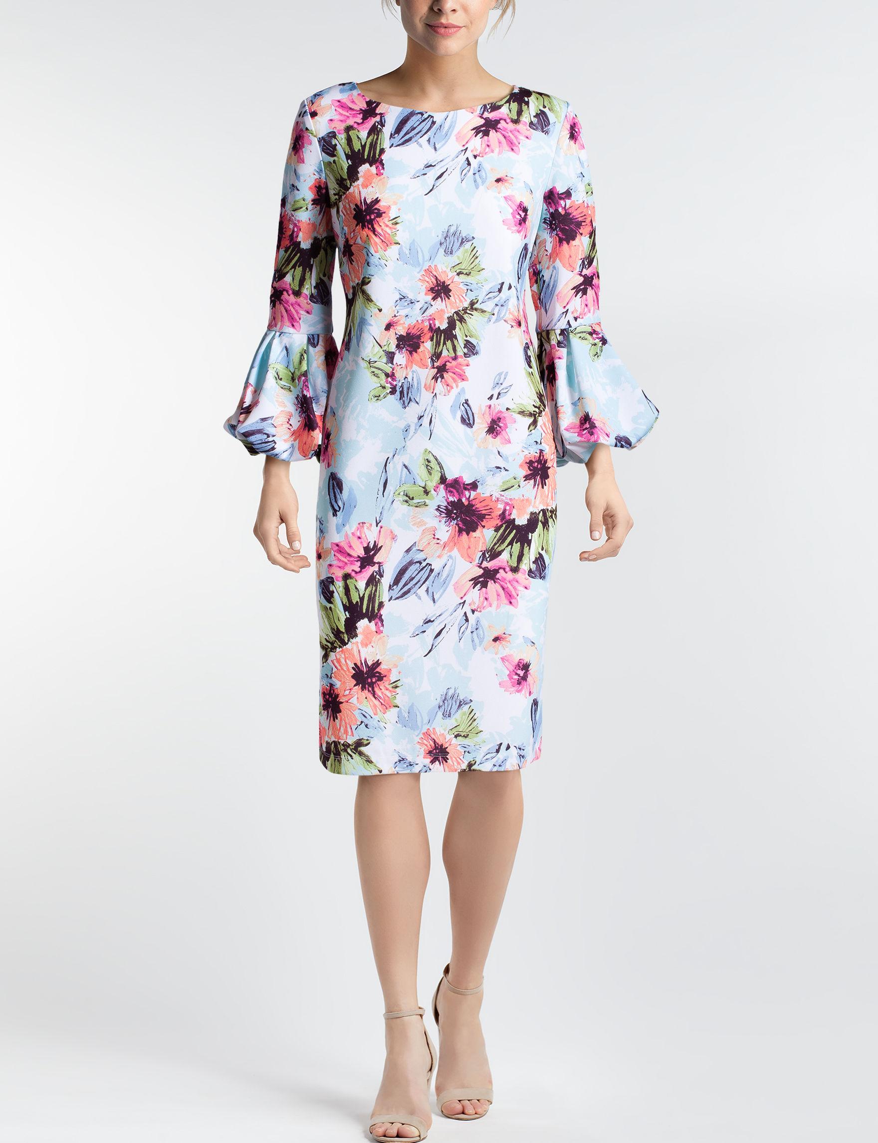 Ronni Nicole Blue Floral Everyday & Casual Sheath Dresses