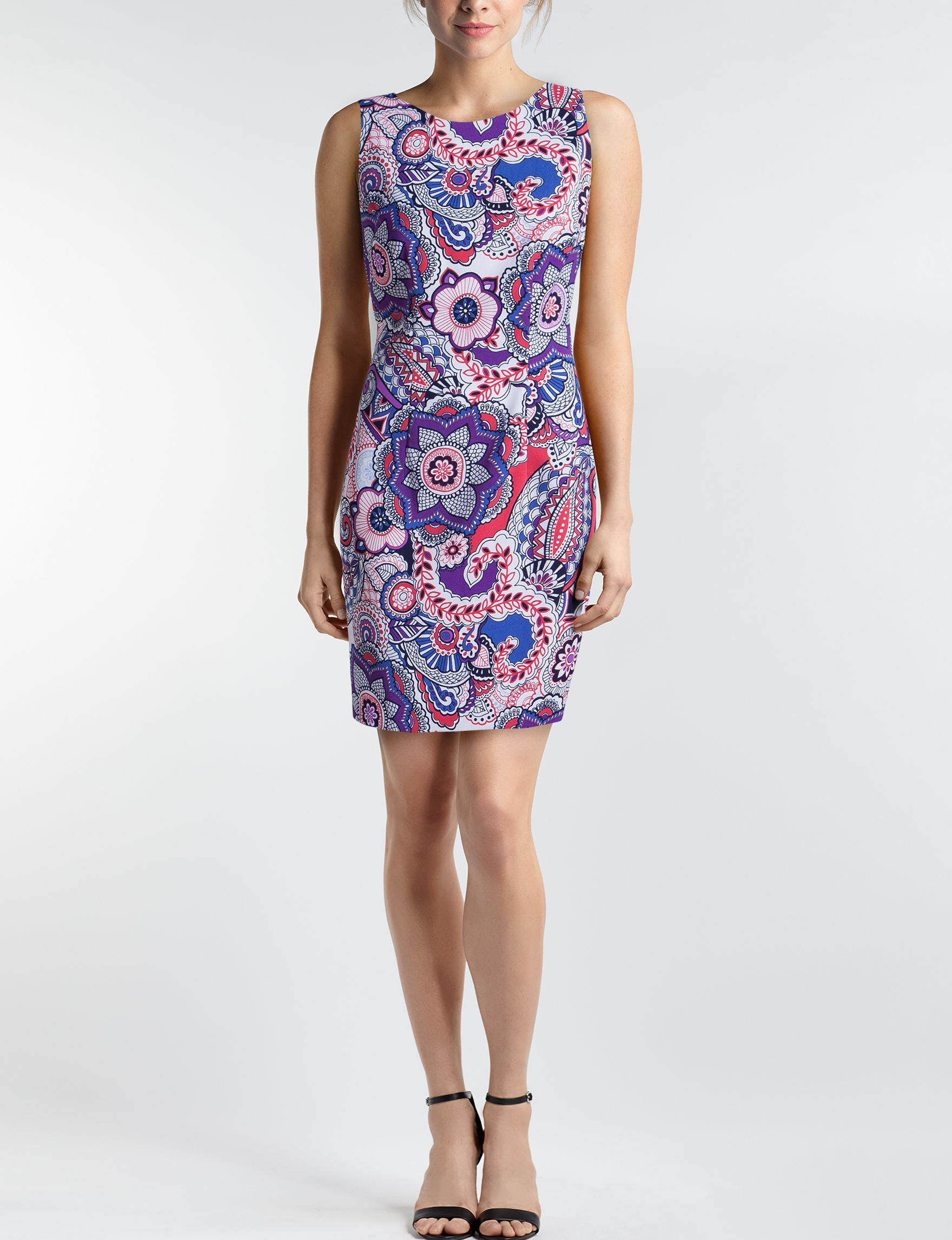 AGB Blue Floral Everyday & Casual Sheath Dresses