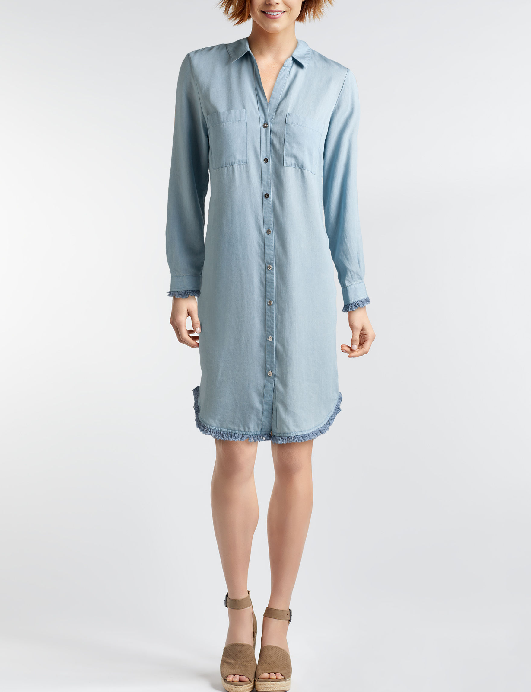 Hope & Harlow Chambray Everyday & Casual Shirt Dresses