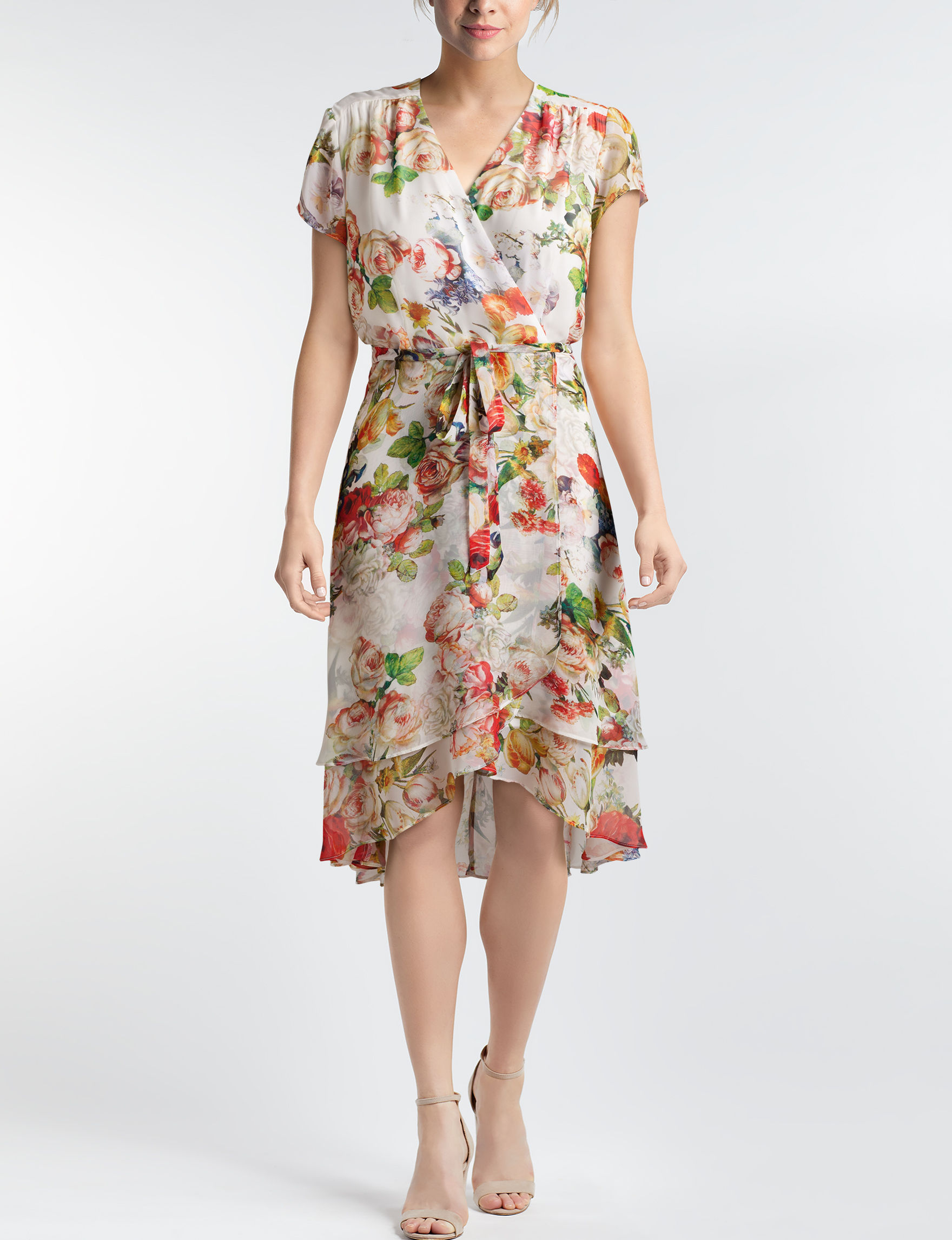 Sandra Darren White Floral Everyday & Casual Fit & Flare Dresses