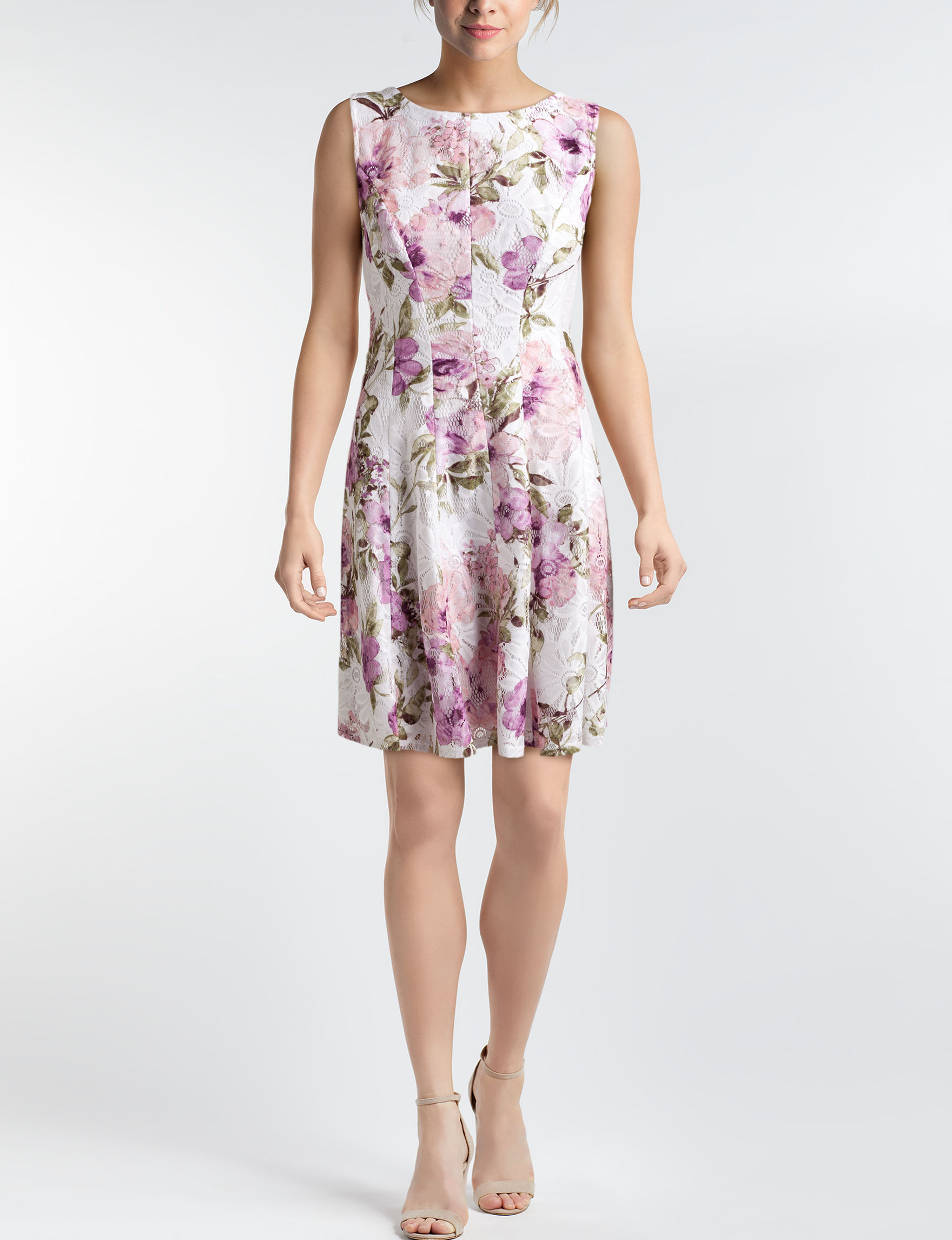 Sandra Darren Ivory Floral Everyday & Casual A-line Dresses
