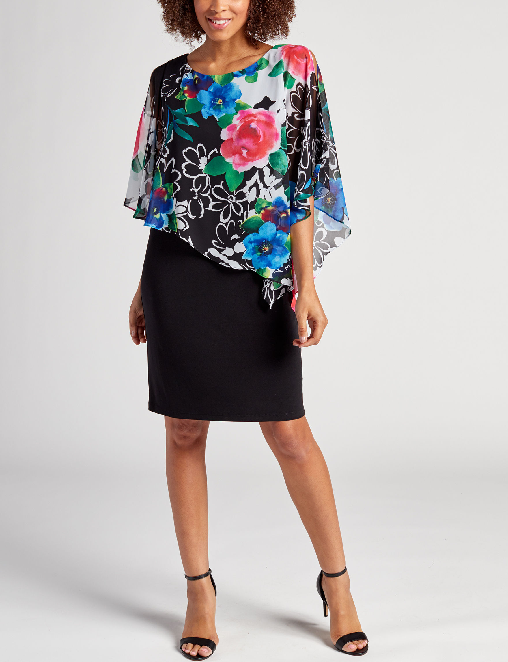 Connected Black Floral Everyday & Casual Jacket Dresses