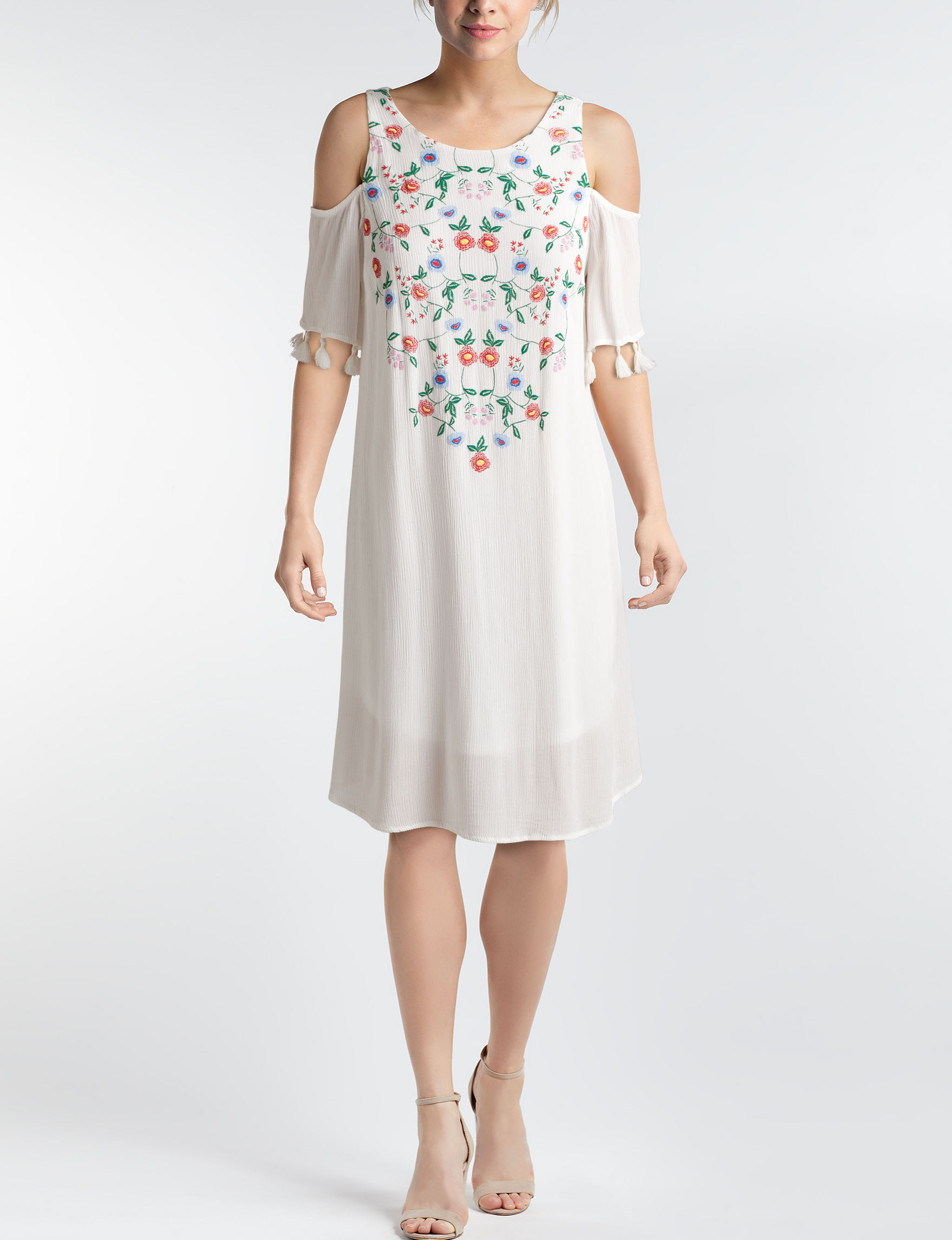 Sequin Hearts White Everyday & Casual Shift Dresses