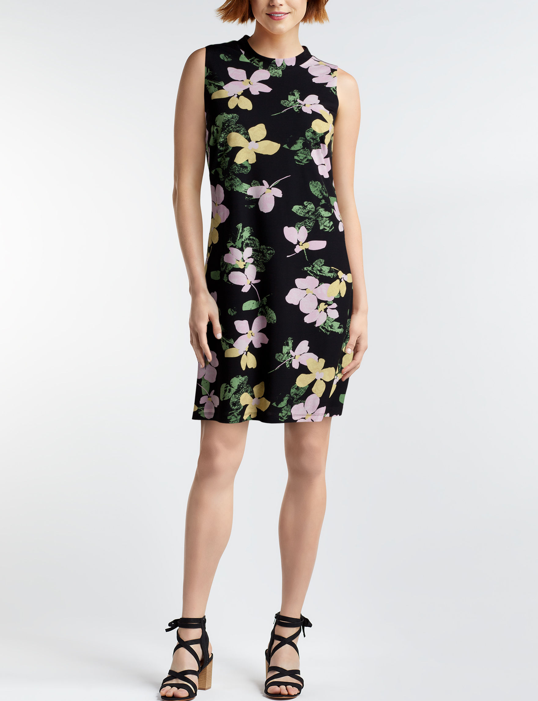 Nine West Black Floral Everyday & Casual A-line Dresses