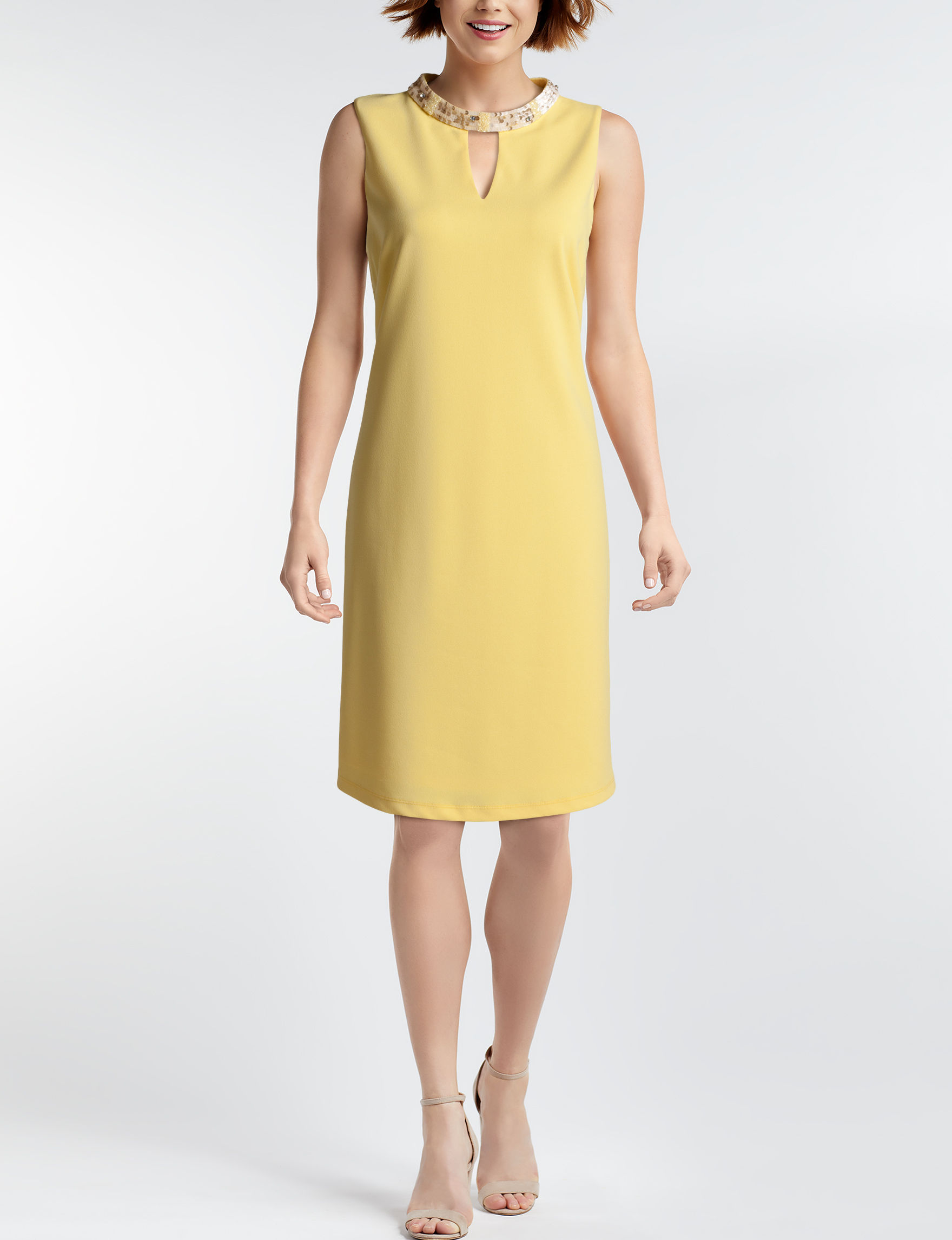Nine West Yellow Everyday & Casual Shift Dresses