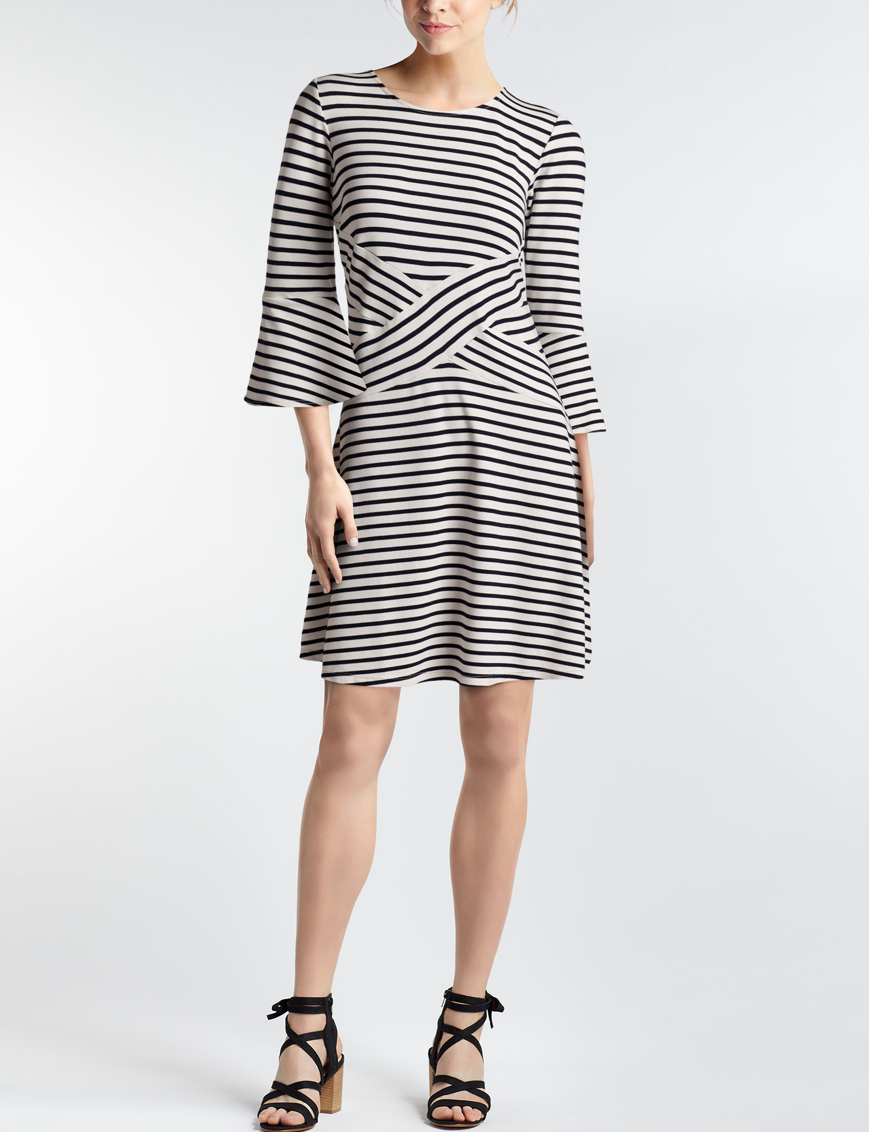 Beige by ECI White / Black Everyday & Casual A-line Dresses