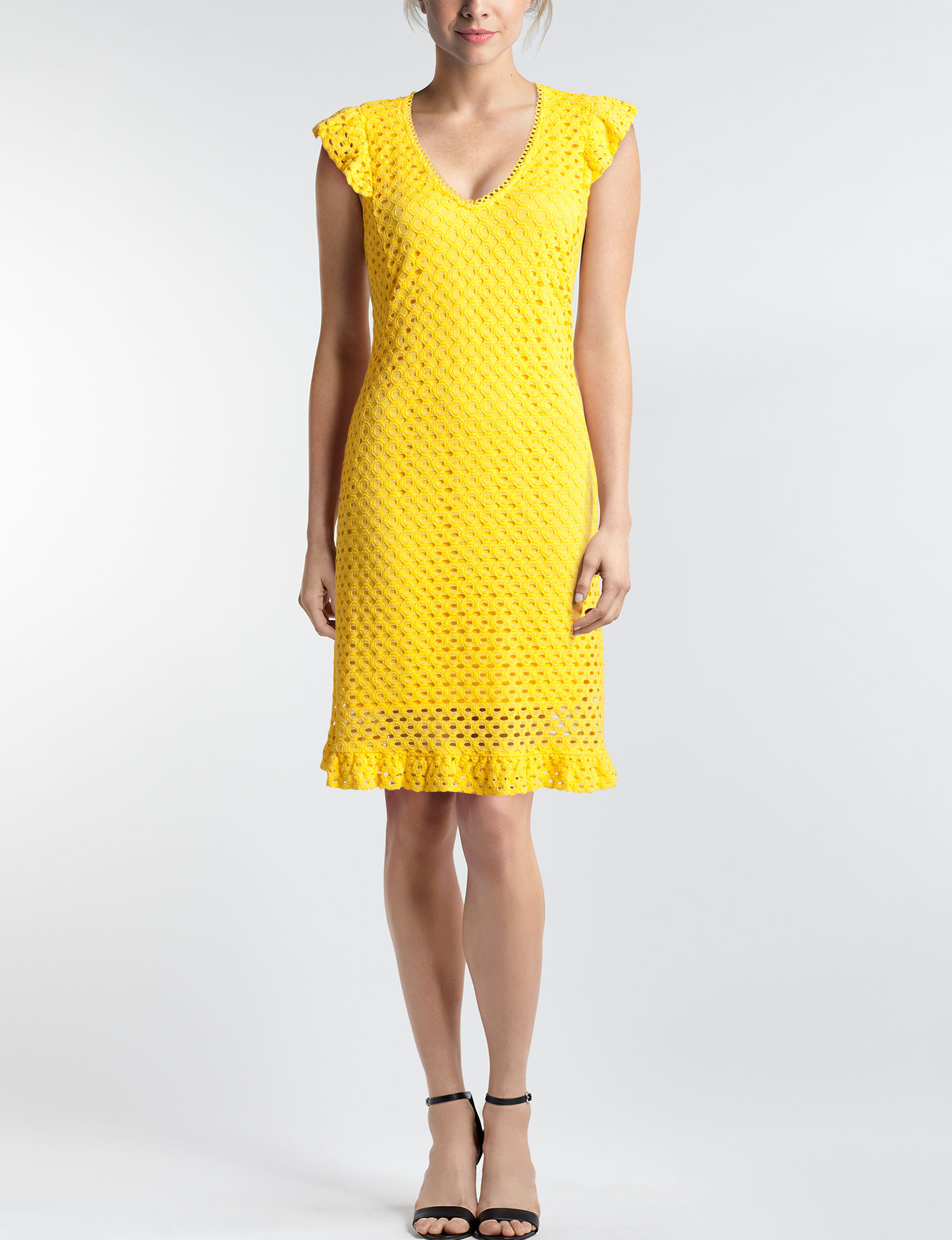 Sharagano Yellow Everyday & Casual Shift Dresses