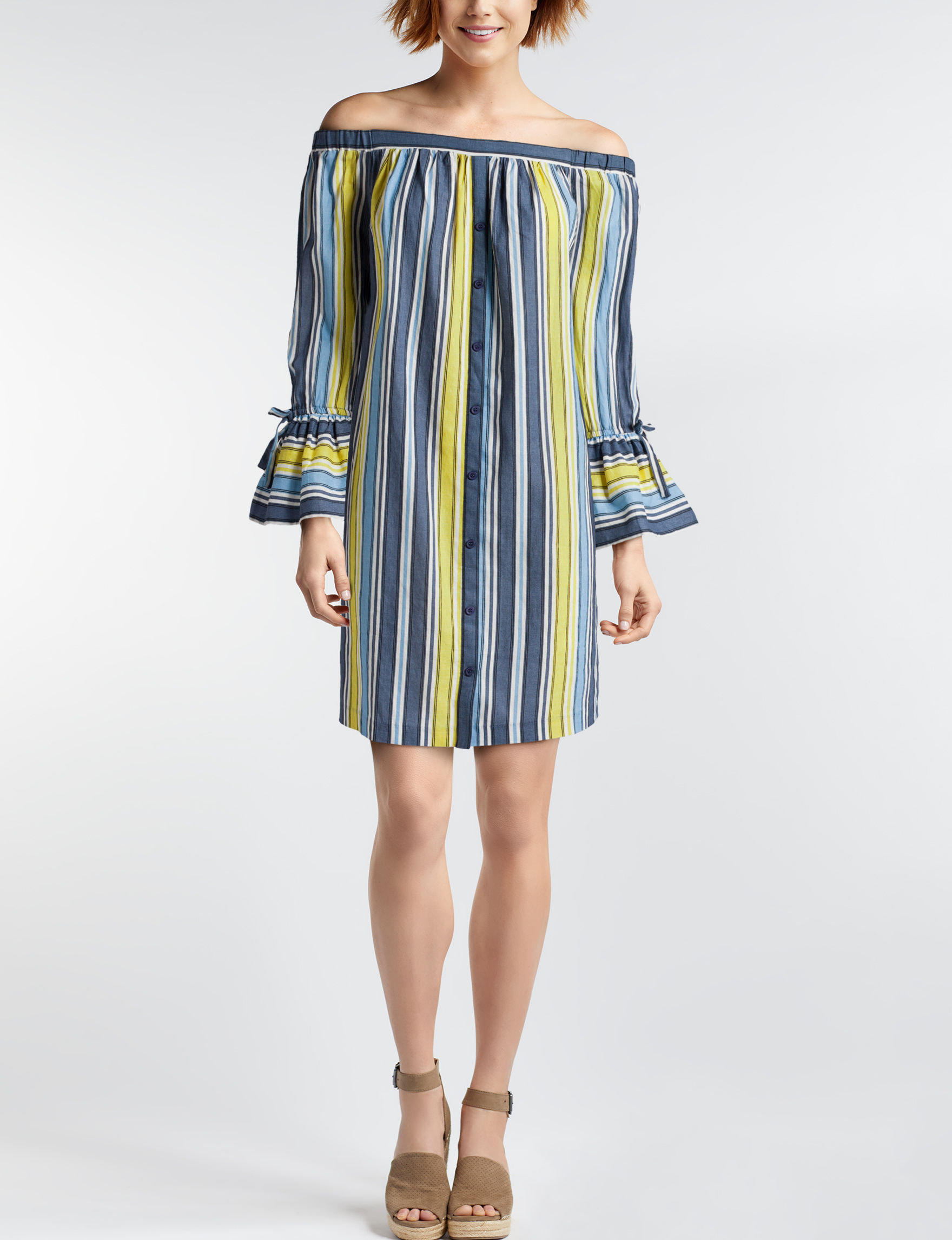 Beige by ECI Yellow / Blue Everyday & Casual Shift Dresses