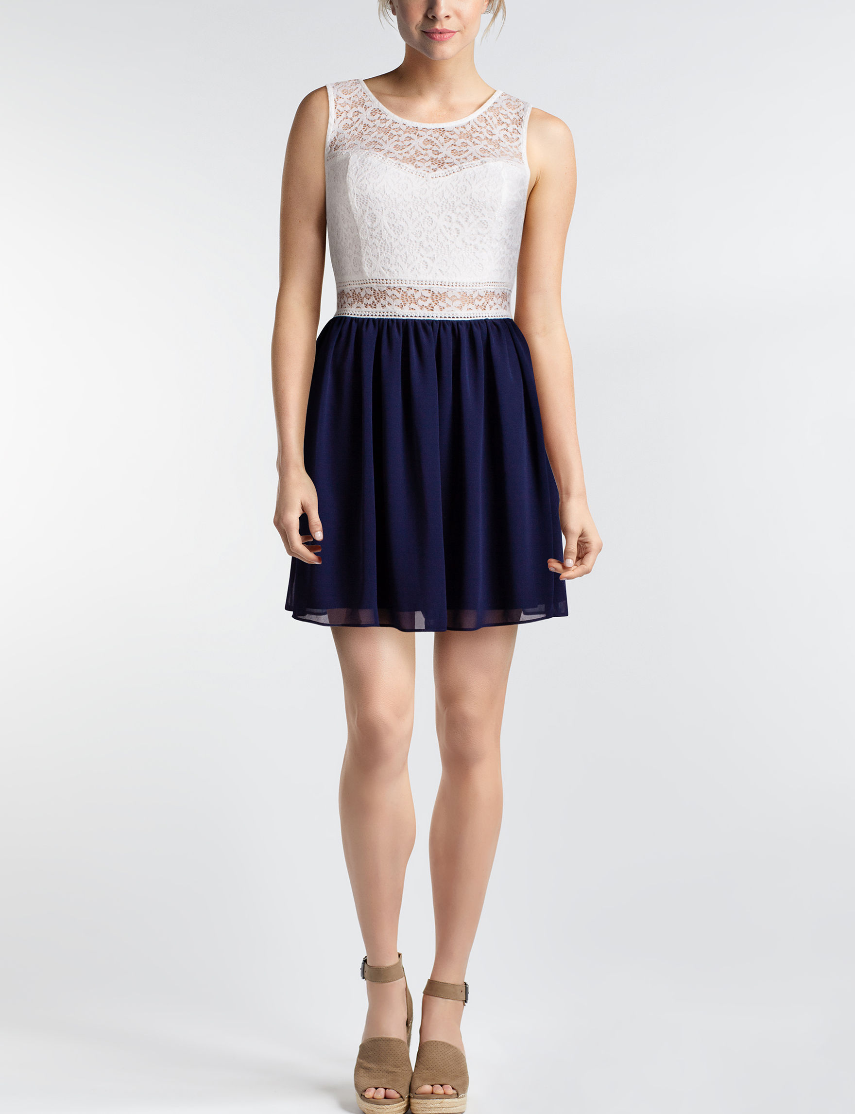 A. Byer Navy Cocktail & Party Evening & Formal Shift Dresses
