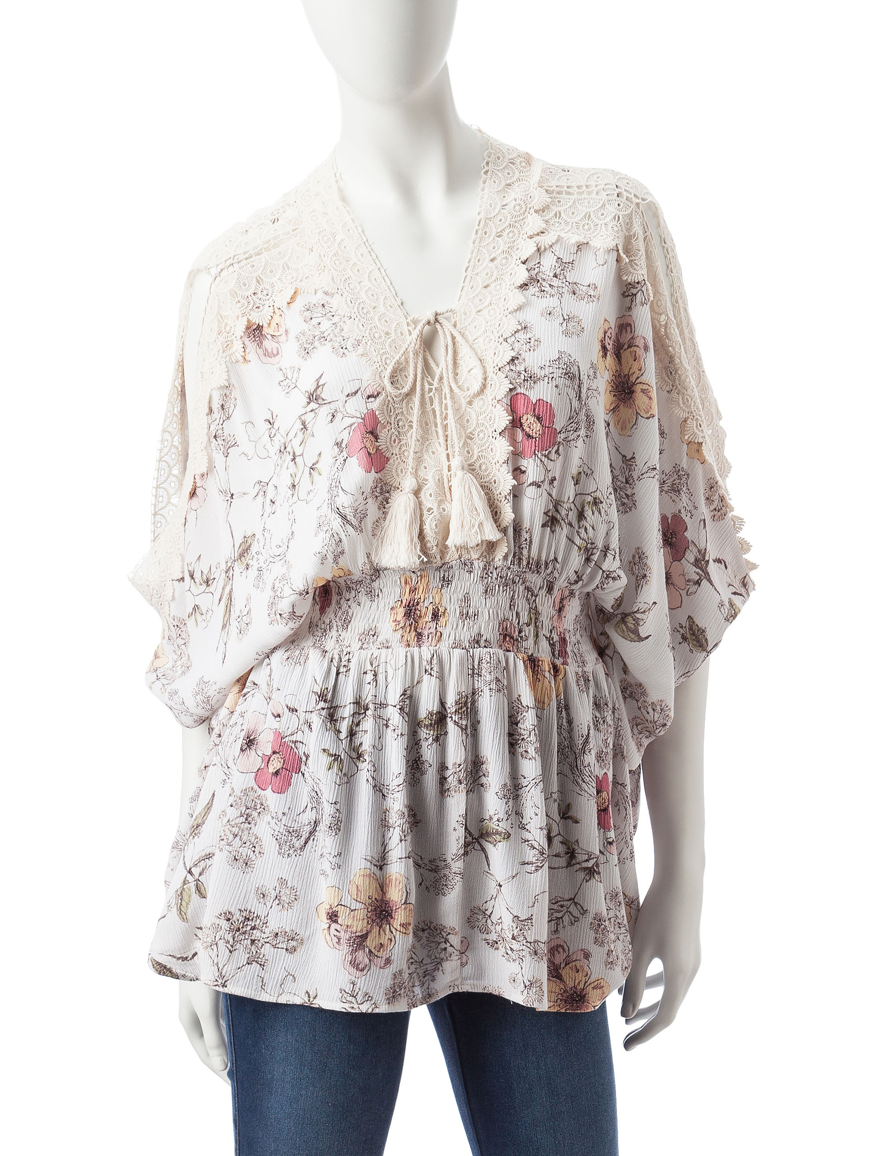 C + J Collections White Floral Shirts & Blouses