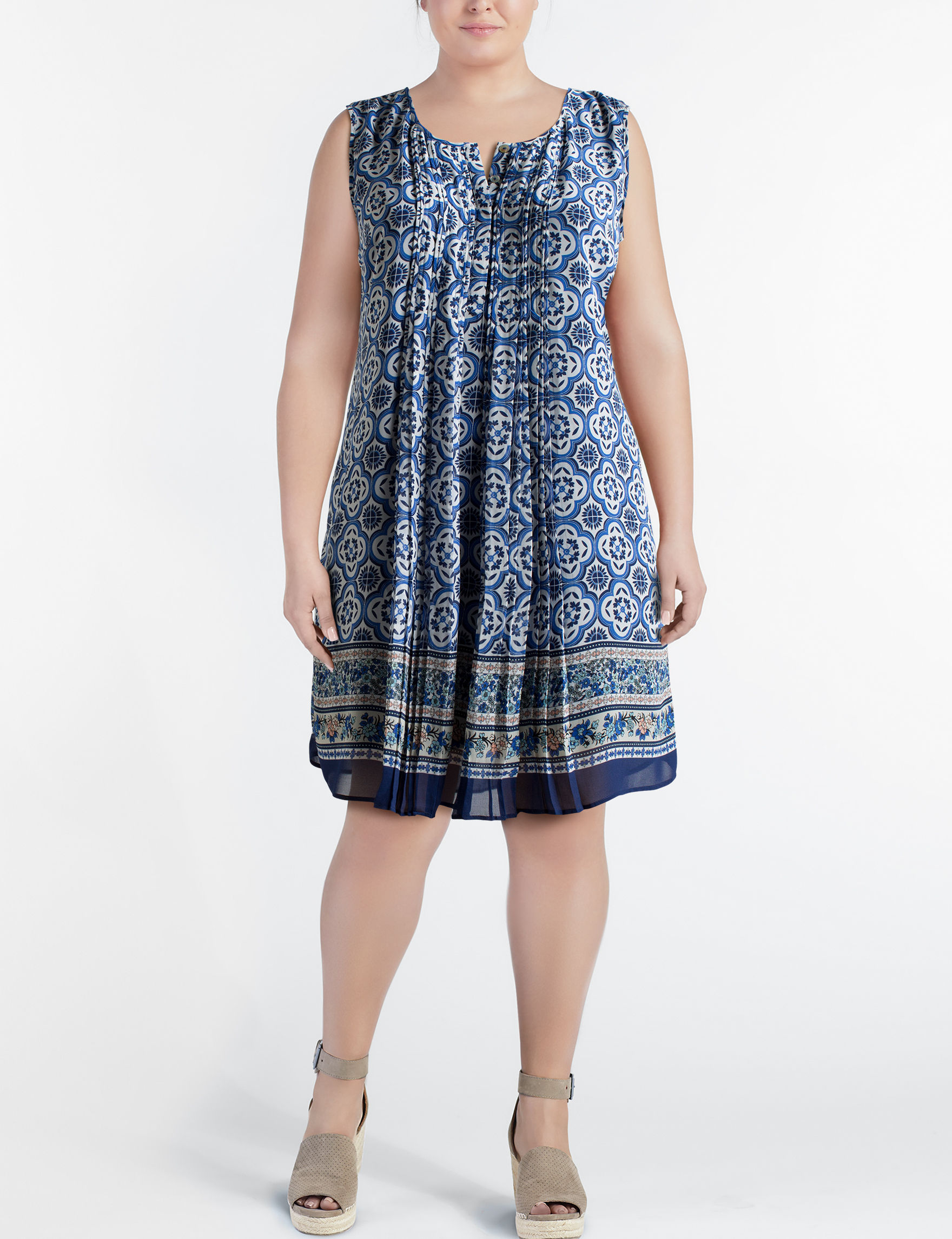 Signature Studio Blue Multi Everyday & Casual Shift Dresses