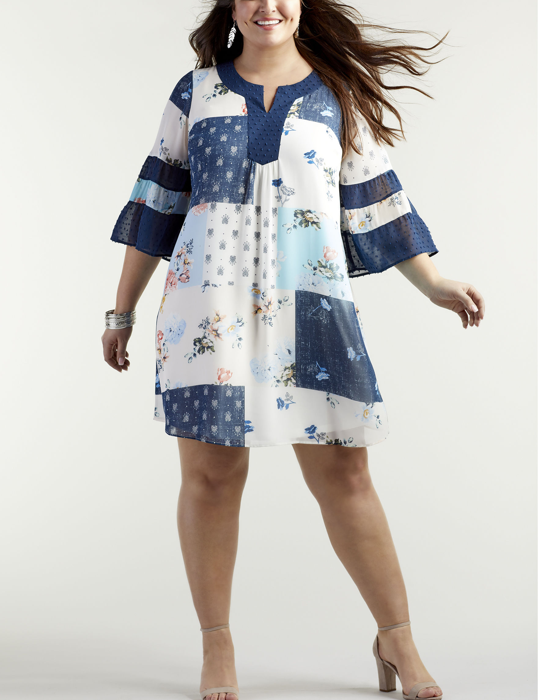 Signature Studio Navy Patchwork Everyday & Casual Shift Dresses