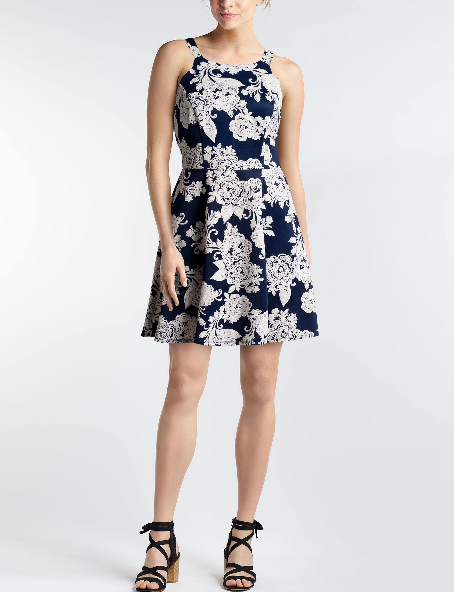 Trixxi Navy / White Cocktail & Party Evening & Formal Fit & Flare Dresses