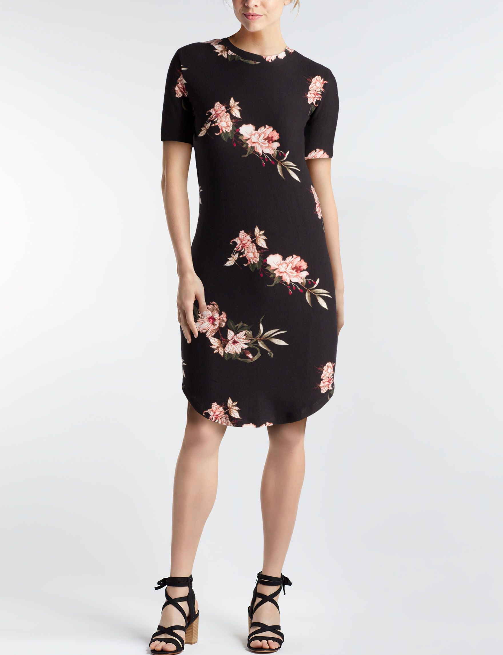 Wishful Park Black Floral Everyday & Casual Shirt Dresses