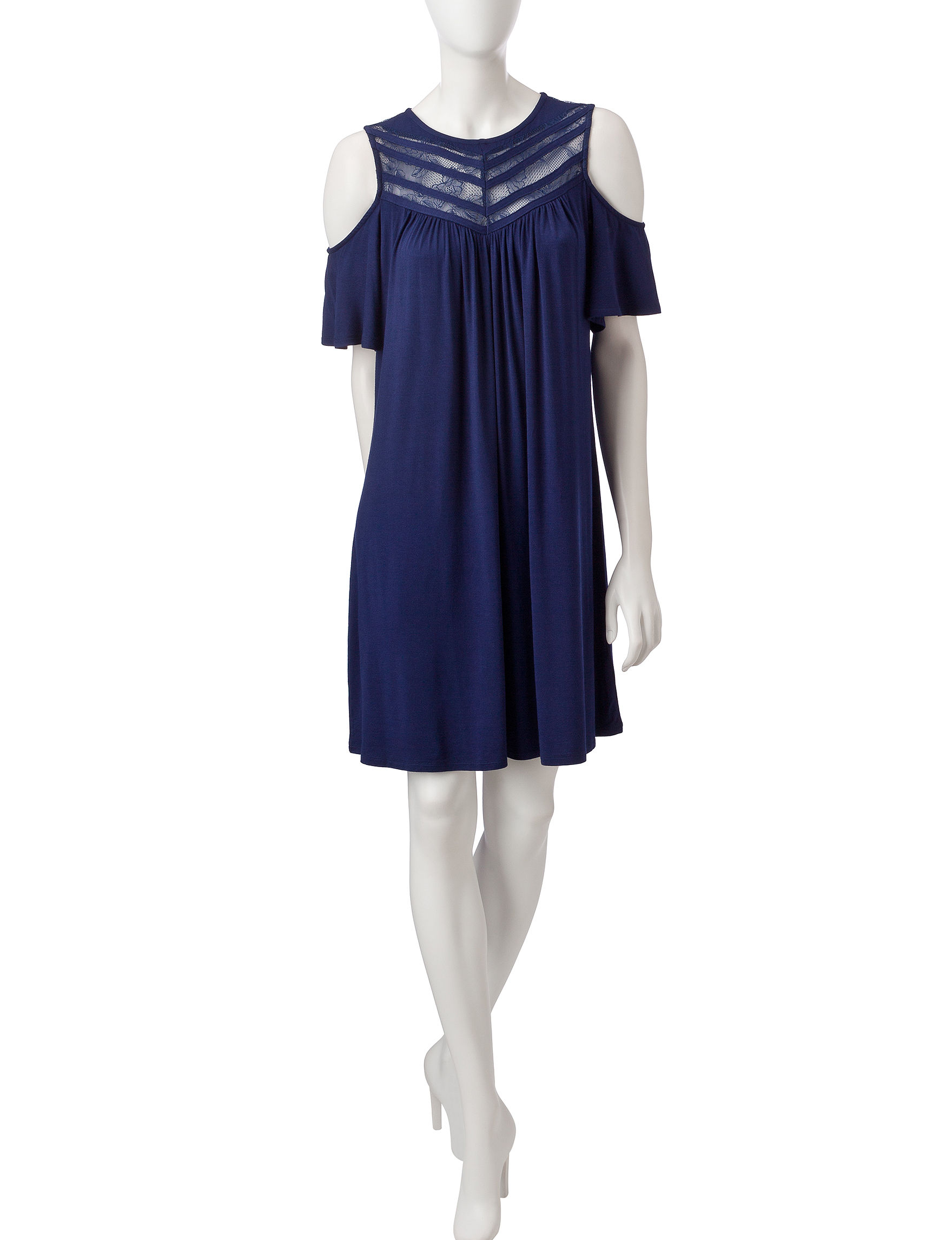 Signature Studio Navy Cocktail & Party Everyday & Casual Shift Dresses