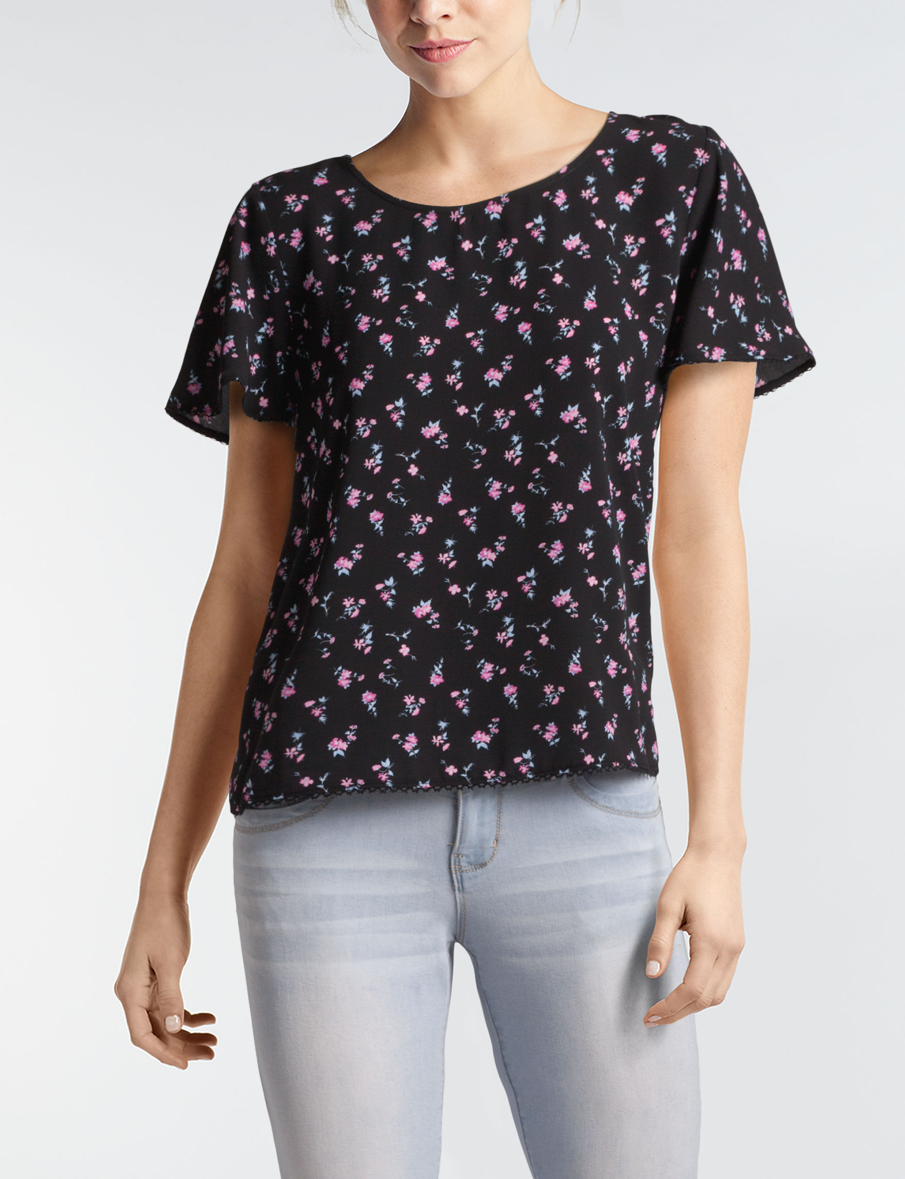My Michelle Black Floral Shirts & Blouses