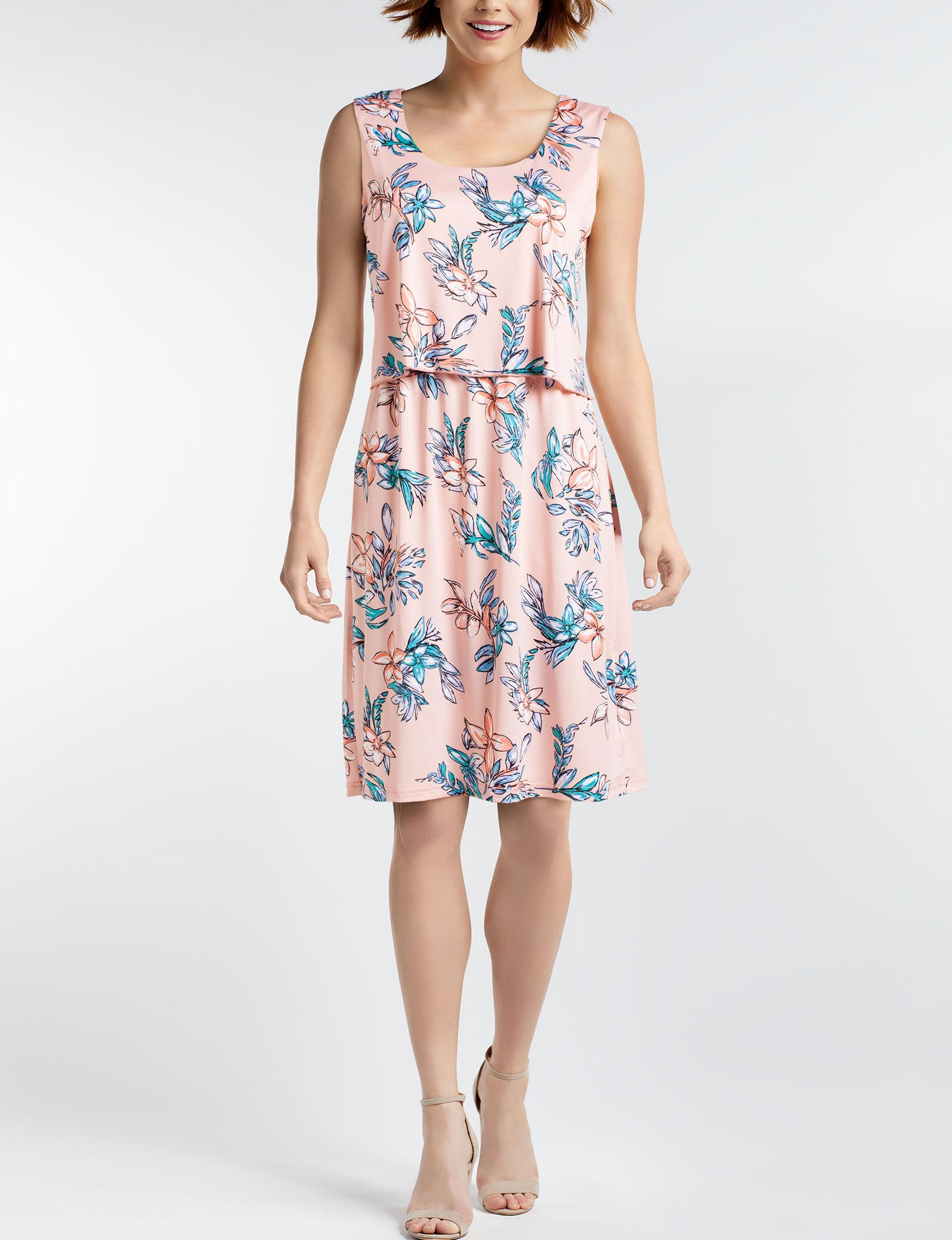 Nina Leonard Pink Multi A-line Dresses