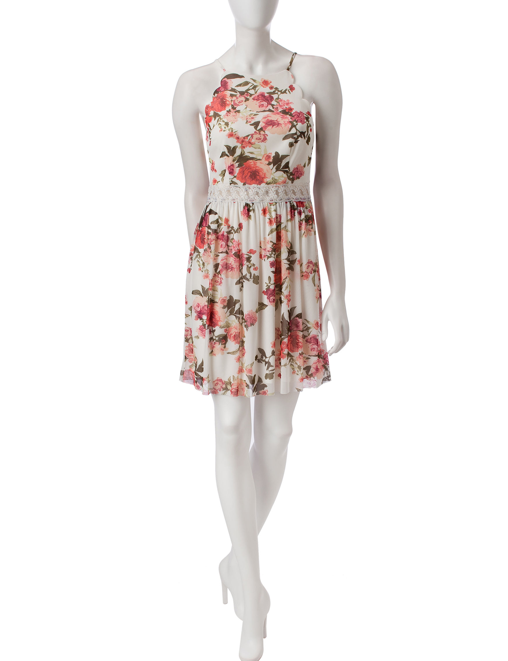 A. Byer Ivory Floral Everyday & Casual Shift Dresses