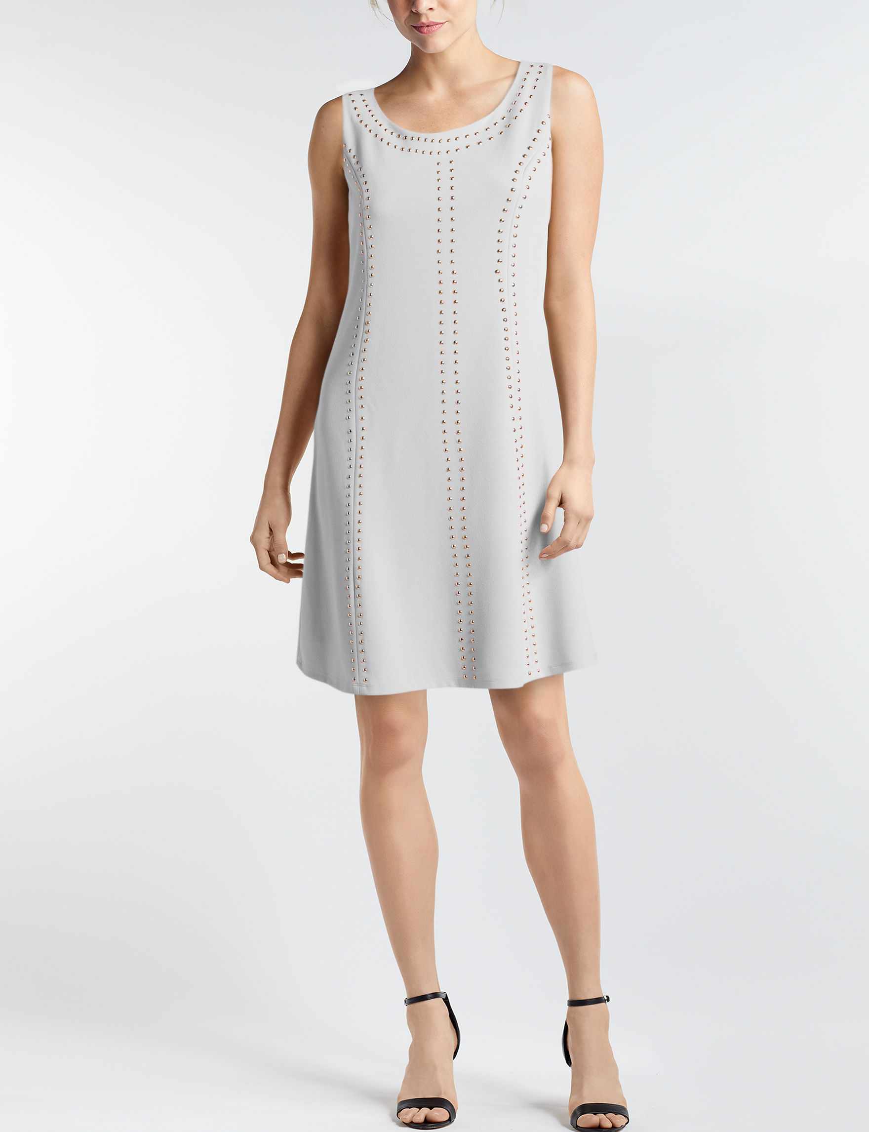 Nina Leonard Ivory Everyday & Casual A-line Dresses Fit & Flare Dresses
