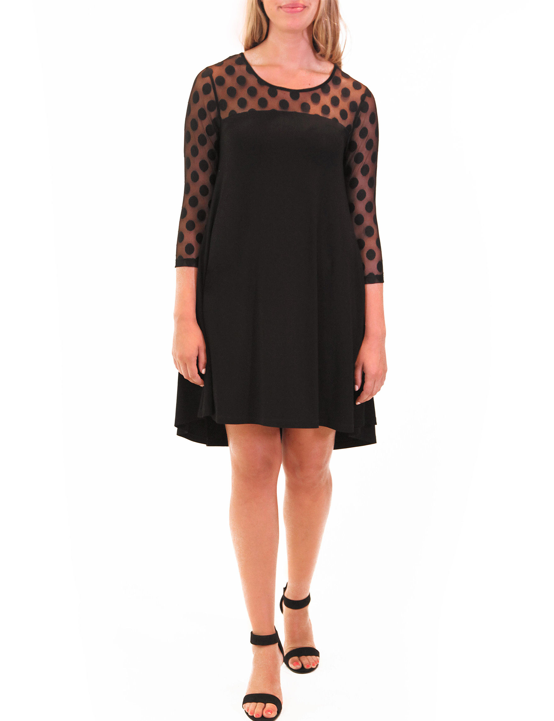 Nina Leonard Black Cocktail & Party Everyday & Casual Shift Dresses