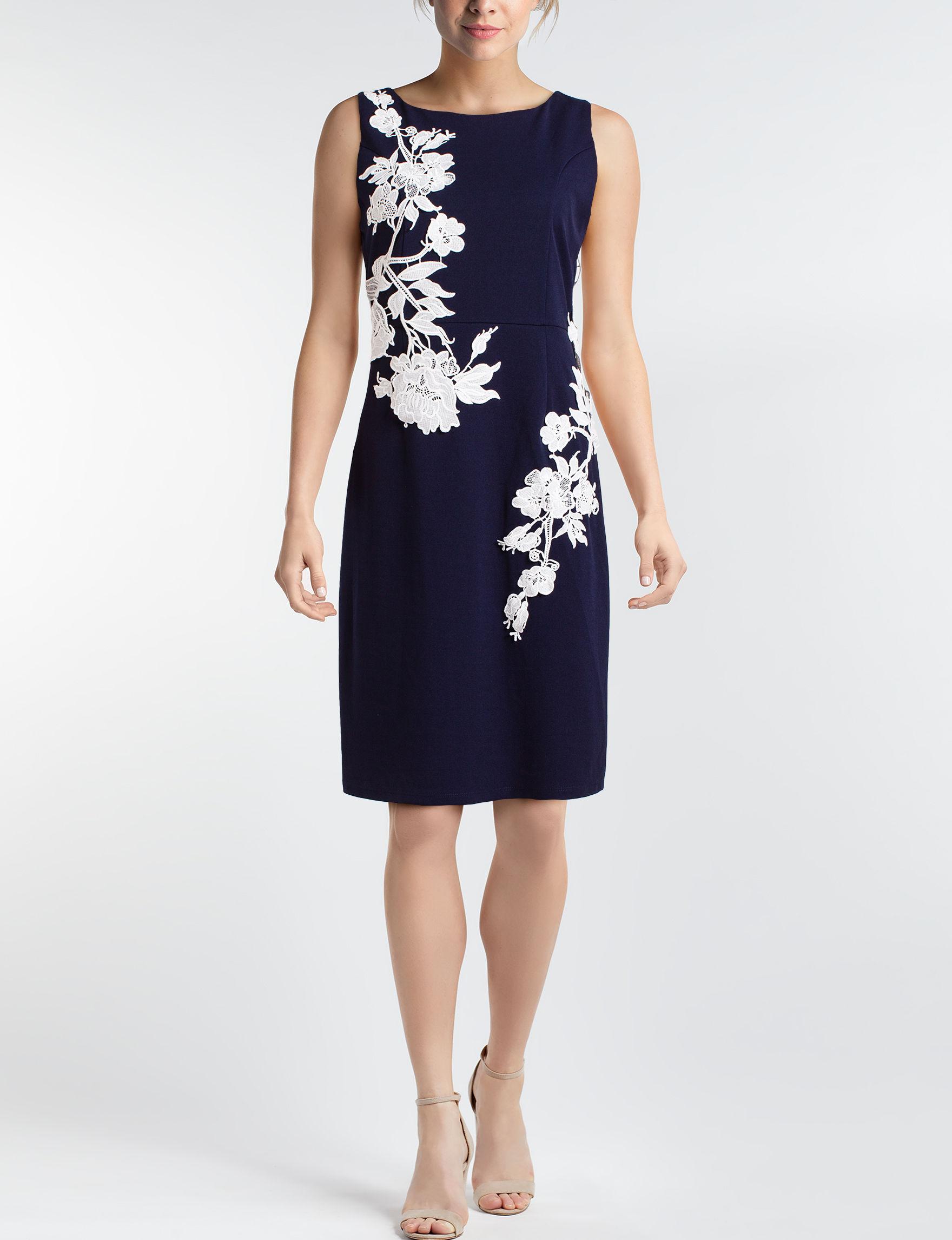 Nina Leonard Light Blue Everyday & Casual Sheath Dresses