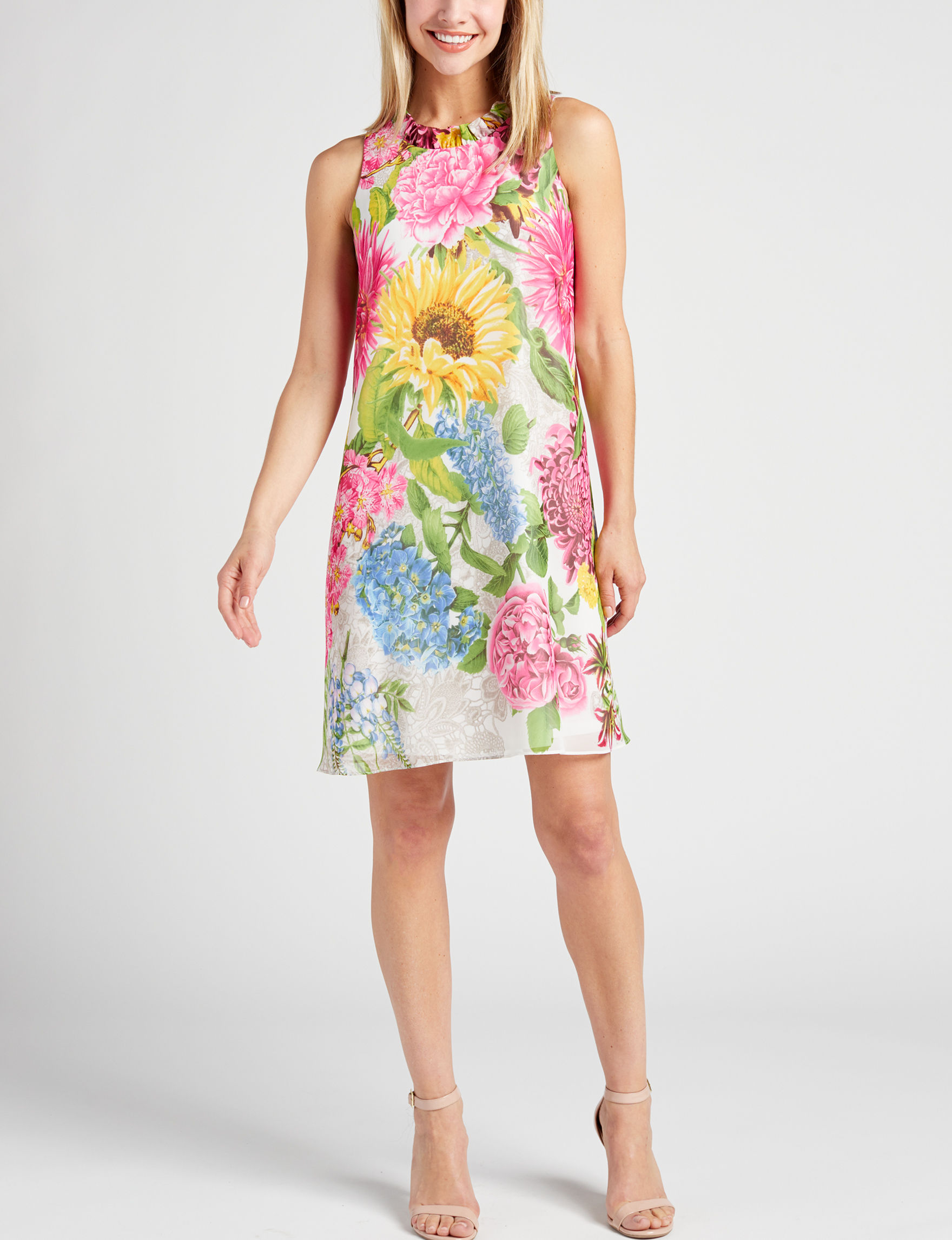 Madison Leigh Pink Floral Everyday & Casual Shift Dresses