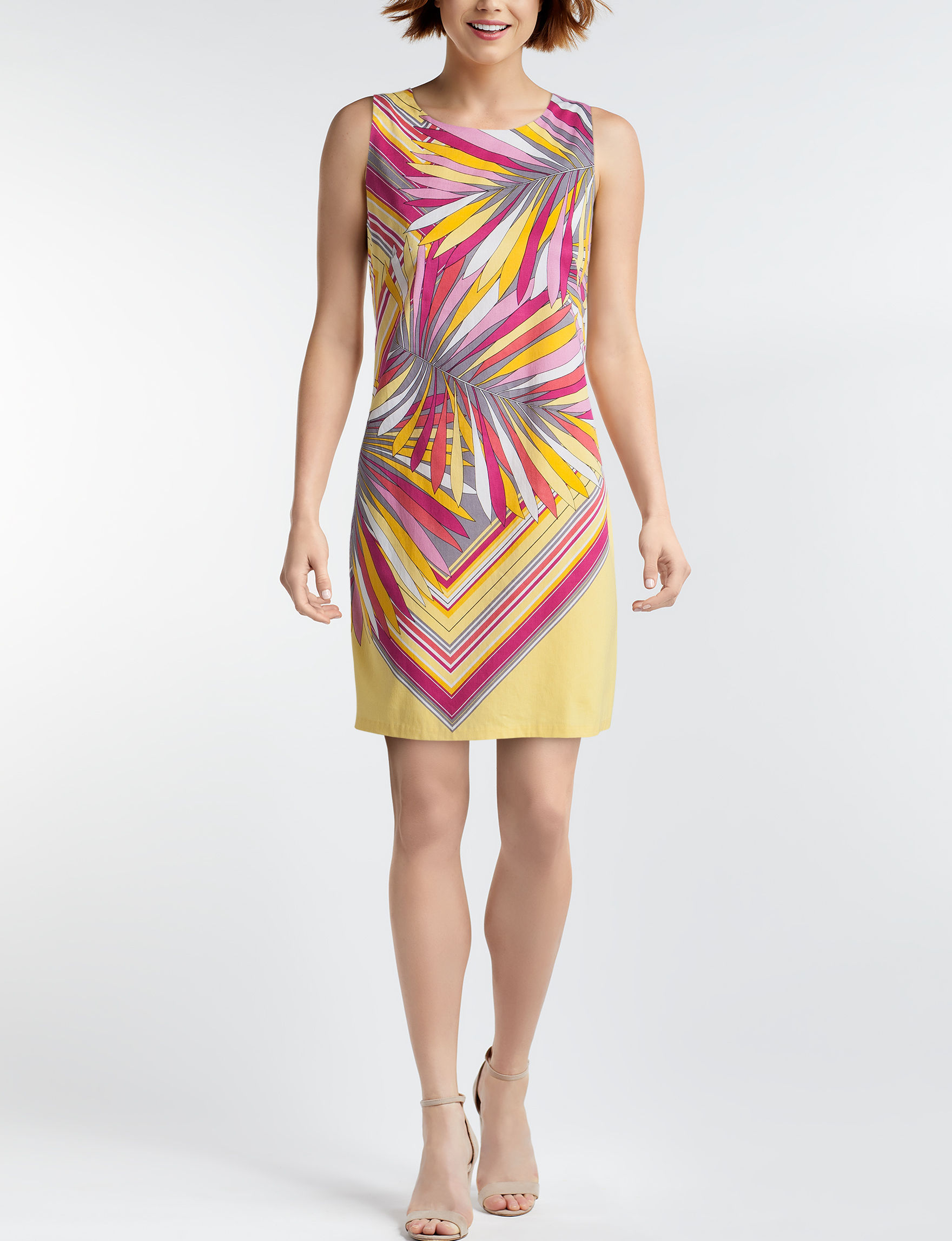 London Times Yellow/ Grey Everyday & Casual Sheath Dresses