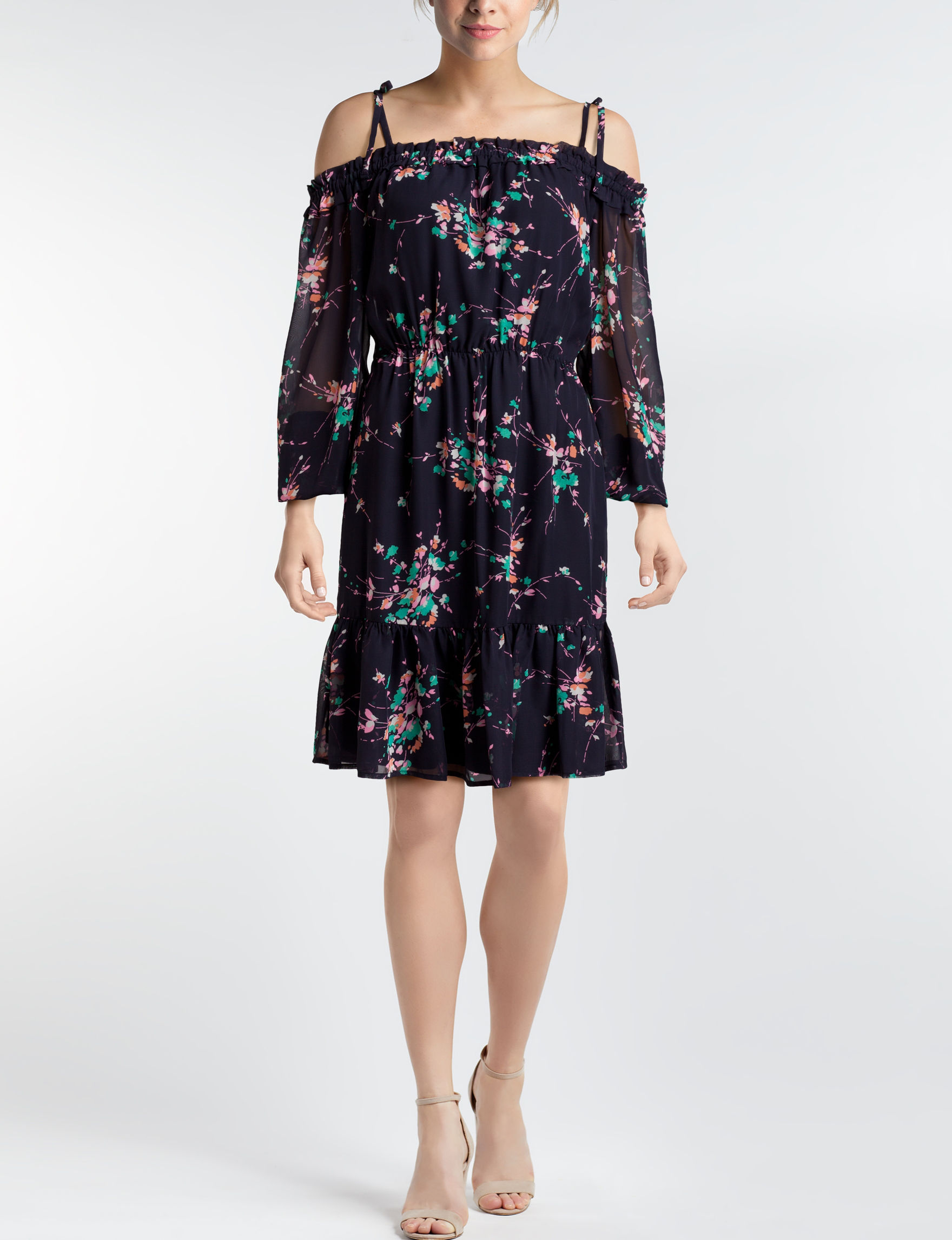 Nine West Navy Floral Everyday & Casual Shift Dresses