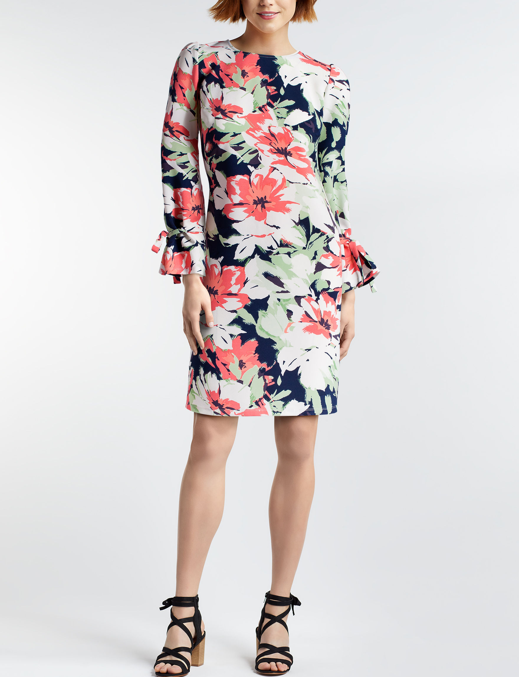 Nine West Navy / Coral Everyday & Casual Shift Dresses
