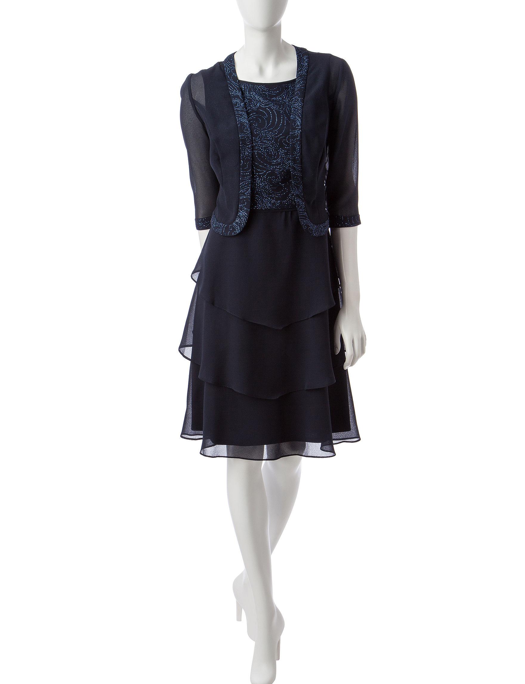 Dana Kay Navy Cocktail & Party Evening & Formal Jacket Dresses