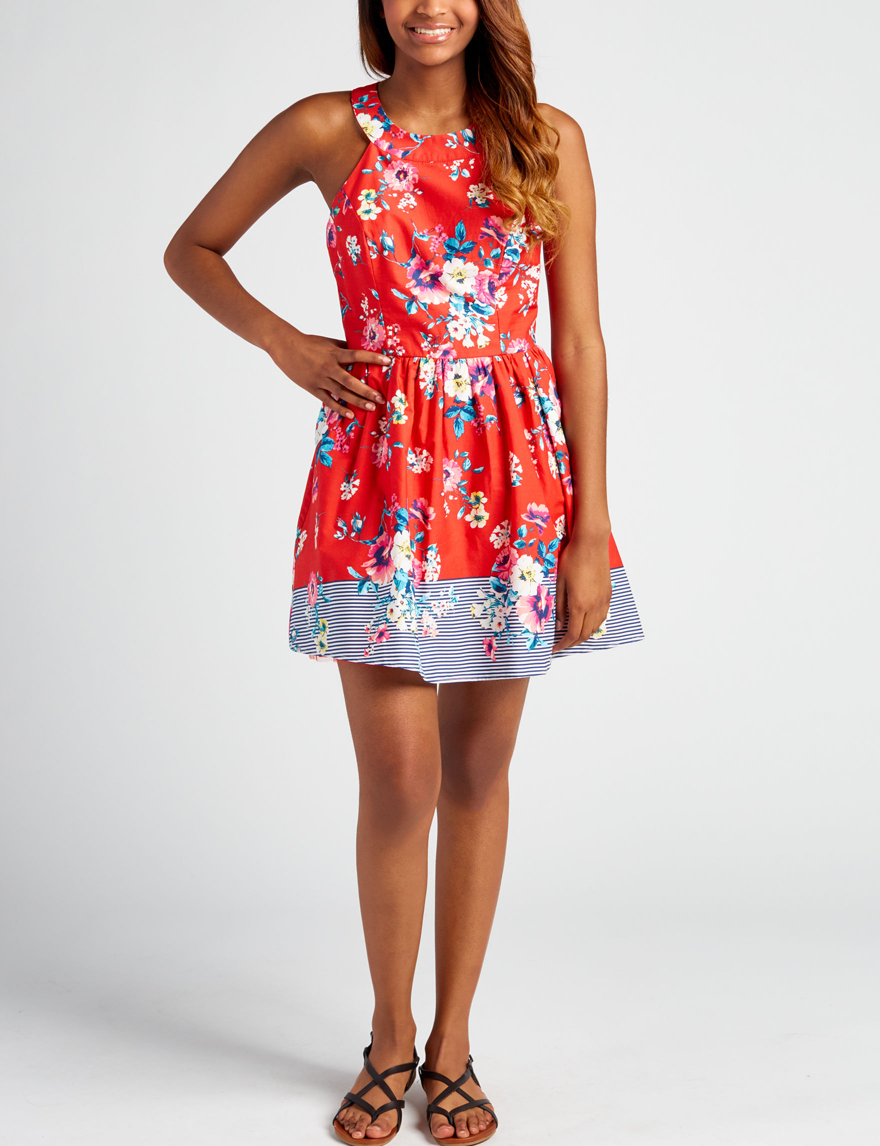 Trixxi Red Floral Everyday & Casual Fit & Flare Dresses Sundresses
