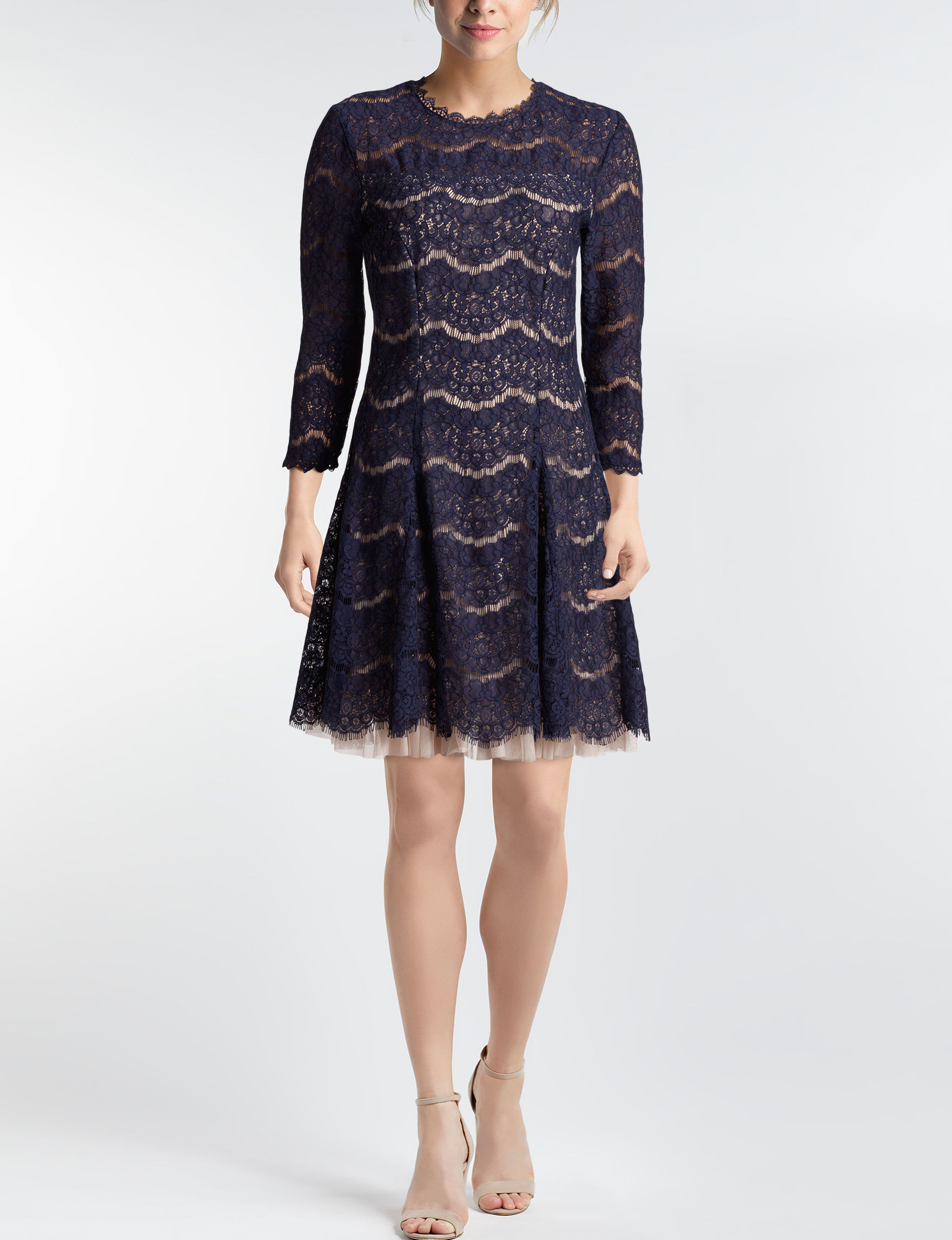 Trixxi Navy Cocktail & Party Everyday & Casual Fit & Flare Dresses