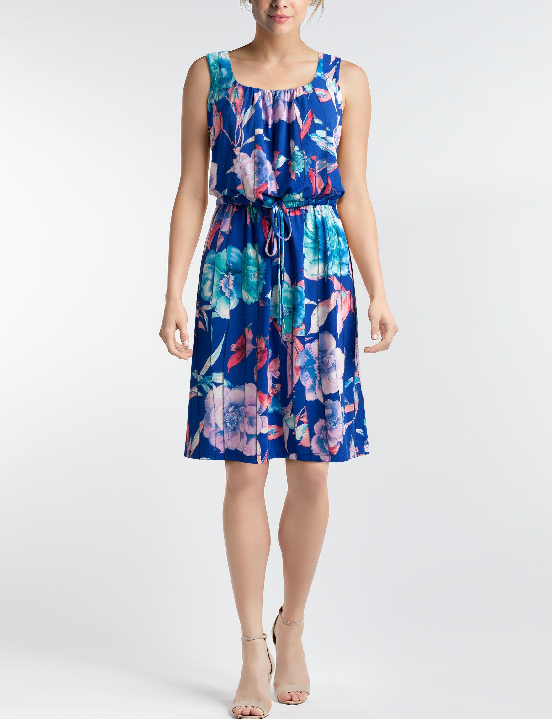 Nina Leonard Blue A-line Dresses