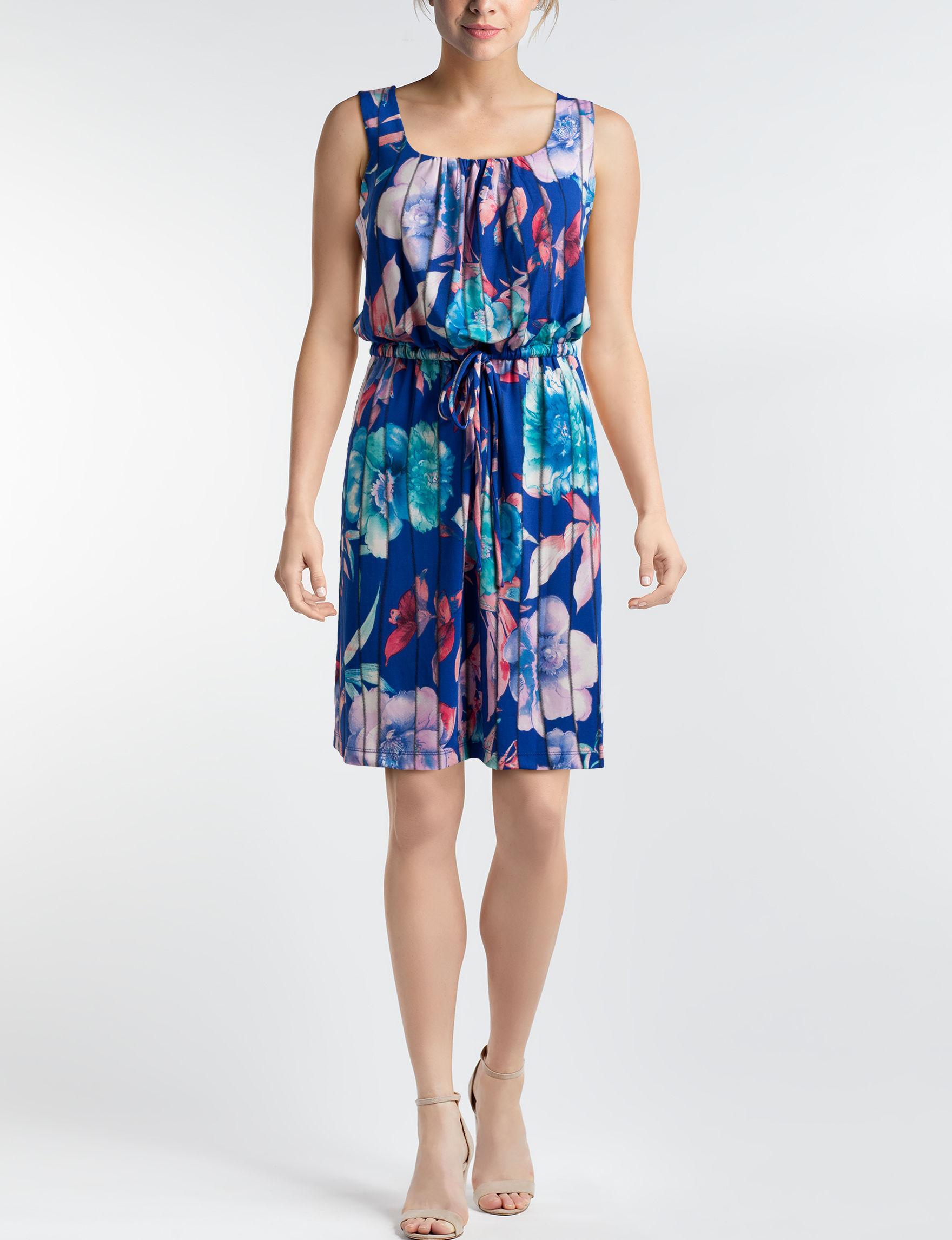Nina Leonard Blue Floral A-line Dresses
