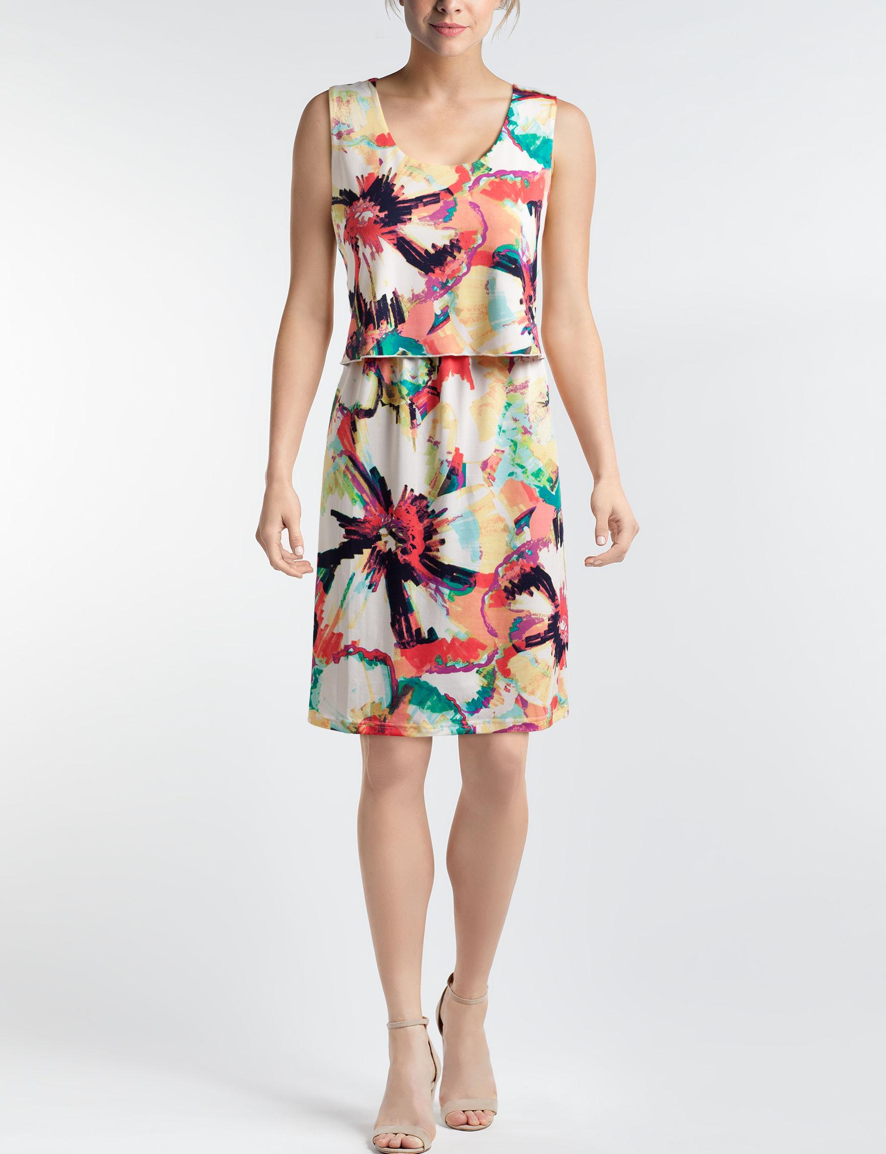 Nina Leonard White Floral A-line Dresses