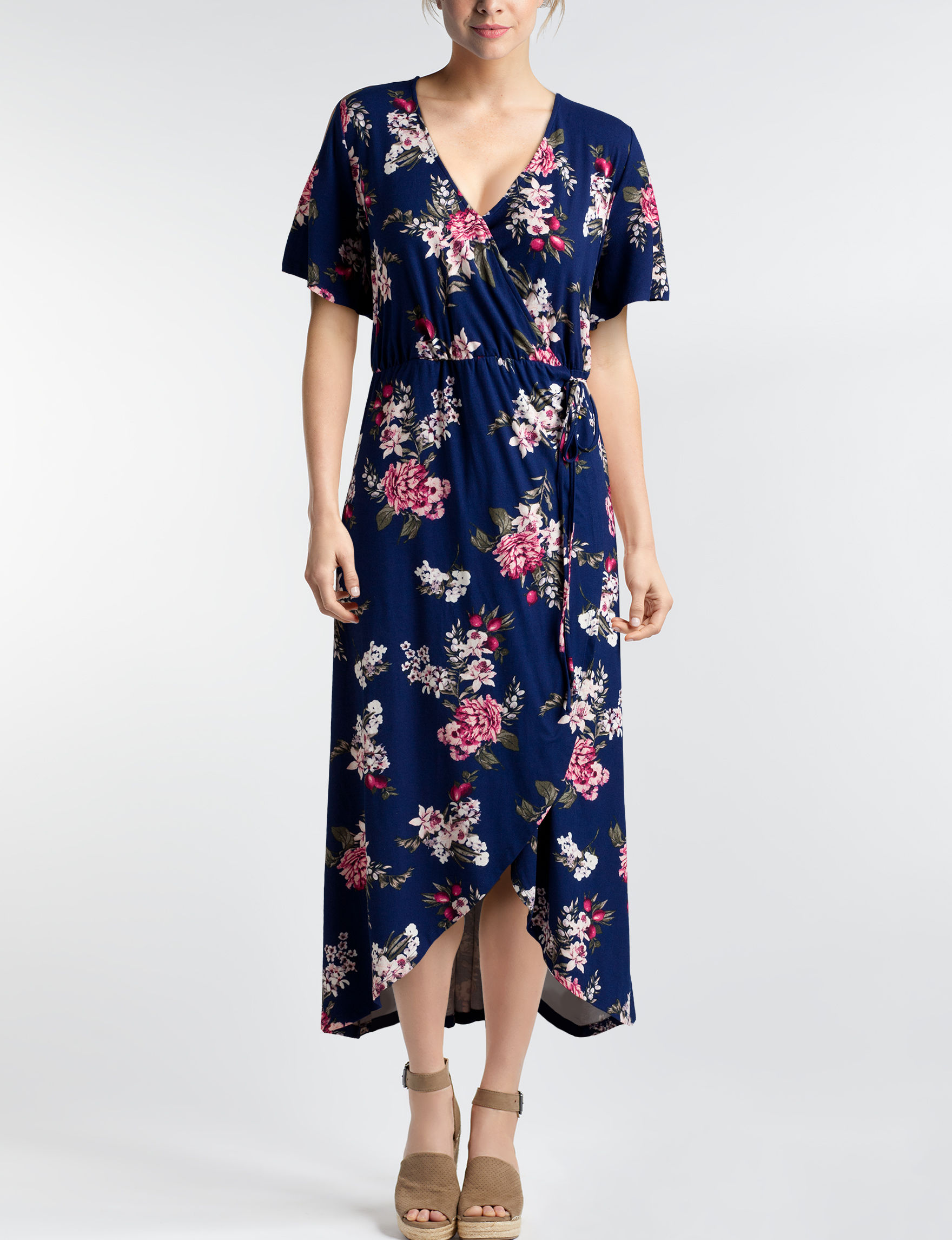 Signature Studio Blue Floral Everyday & Casual Fit & Flare Dresses