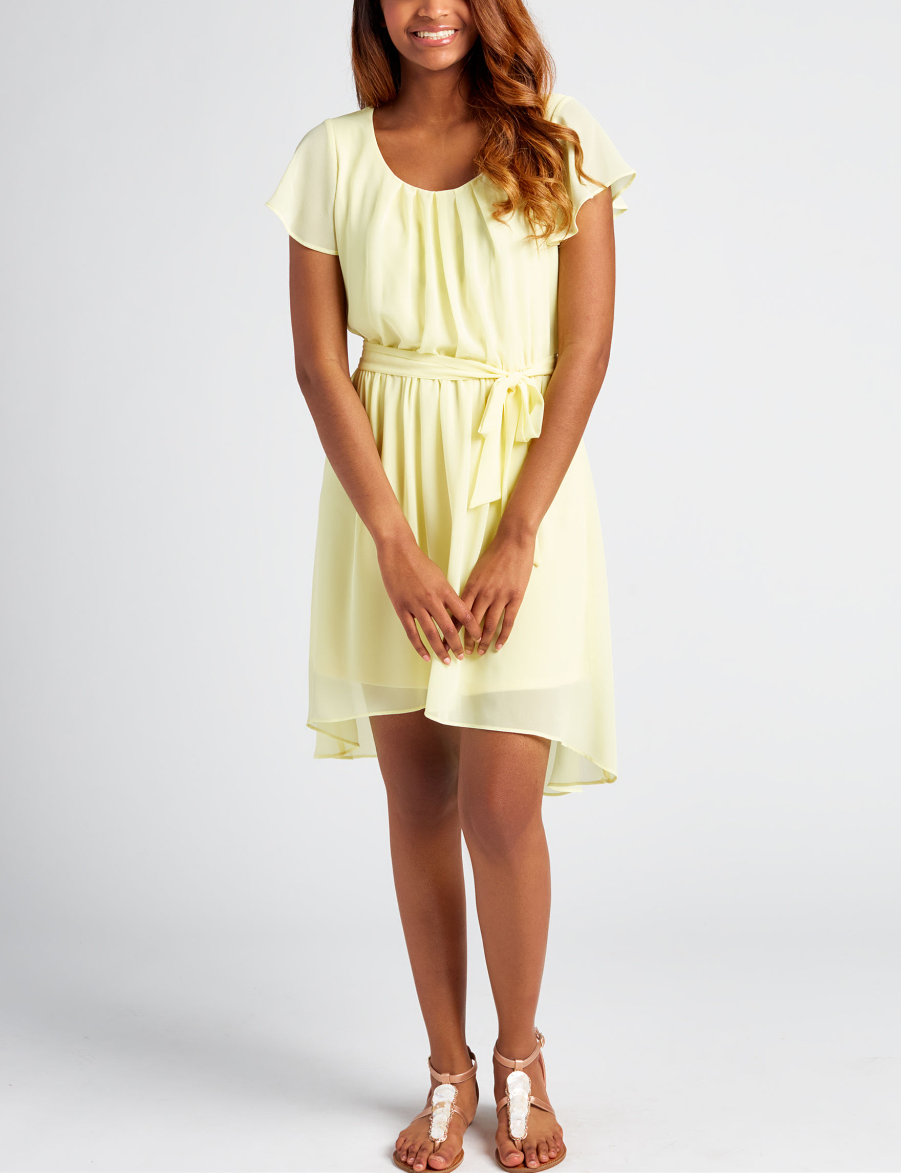 A. Byer Light Yellow Everyday & Casual Shift Dresses