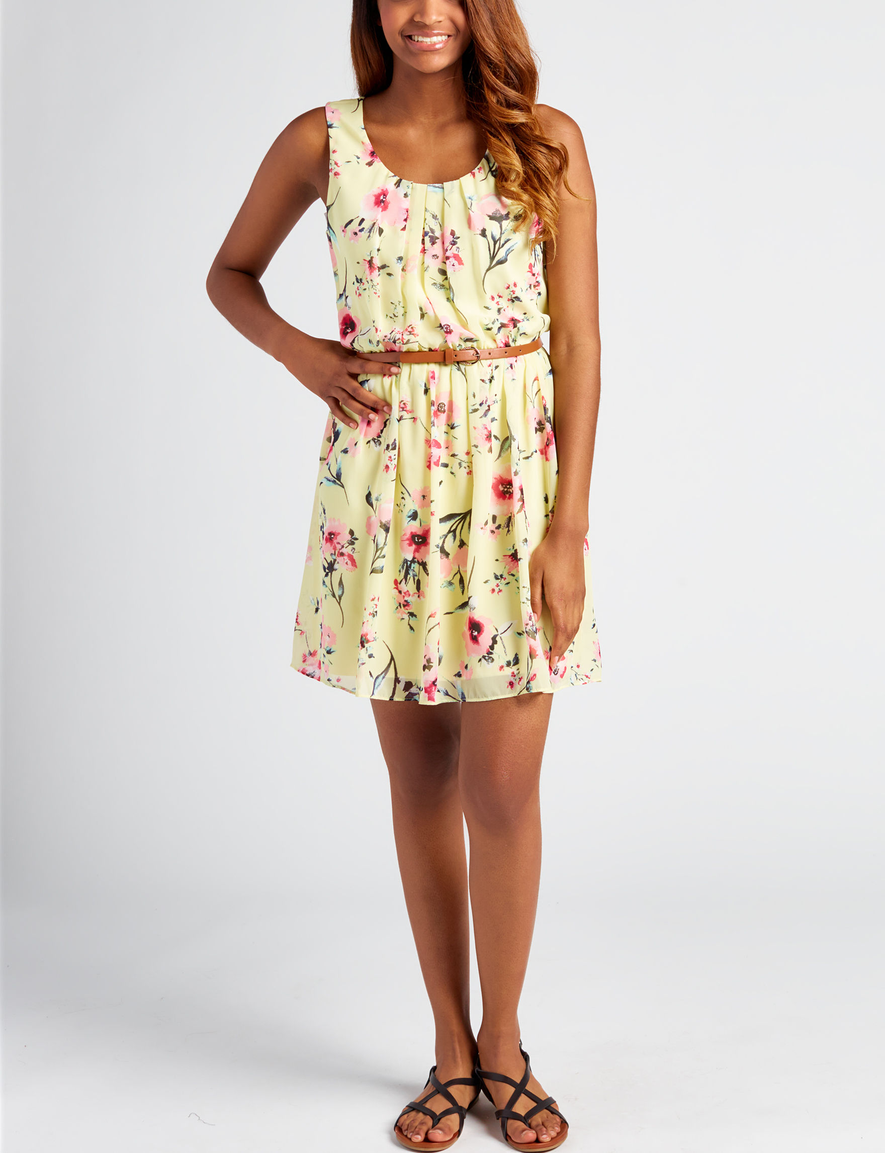 A. Byer Yellow Everyday & Casual Fit & Flare Dresses