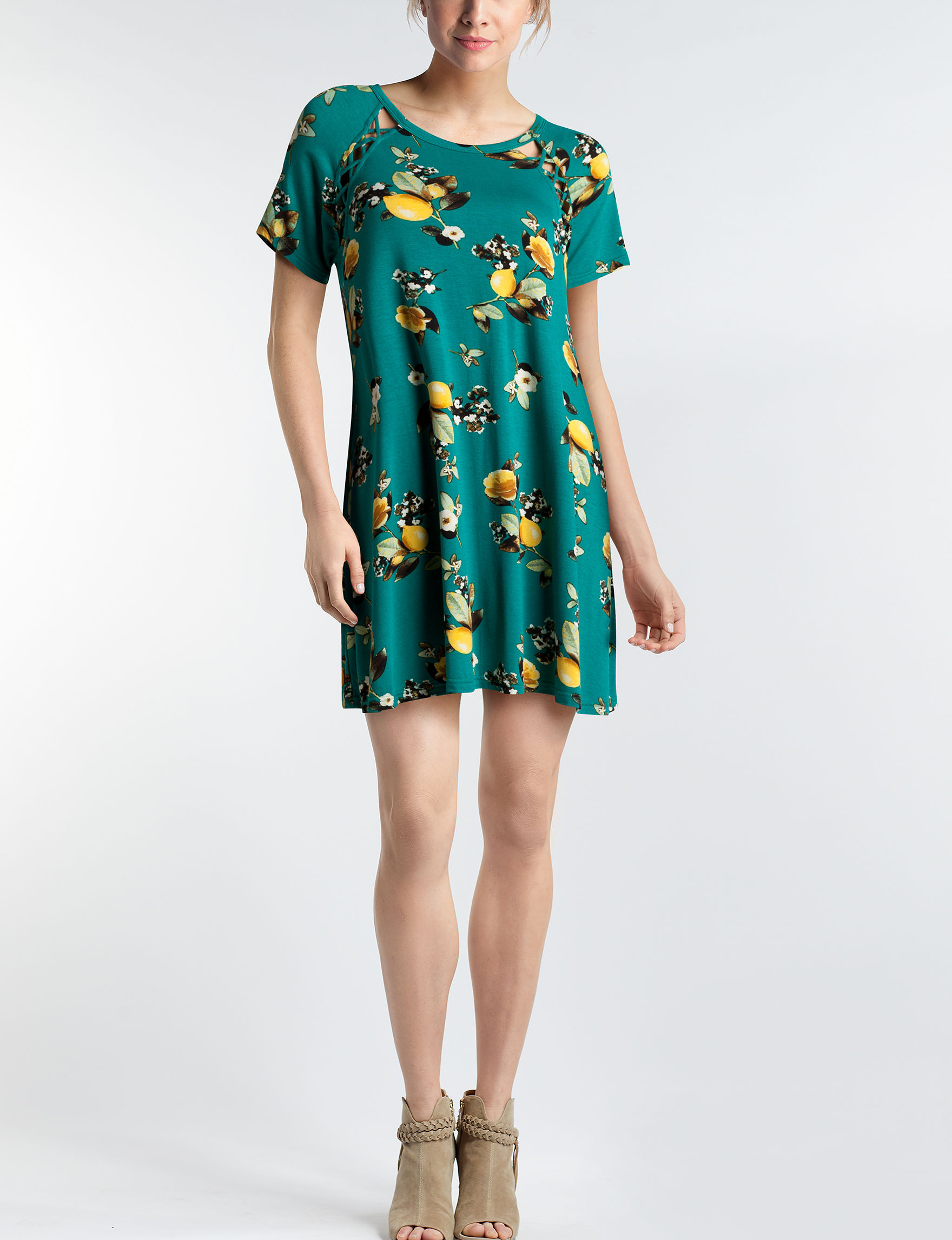 Wishful Park Teal Floral Everyday & Casual Sheath Dresses Shift Dresses
