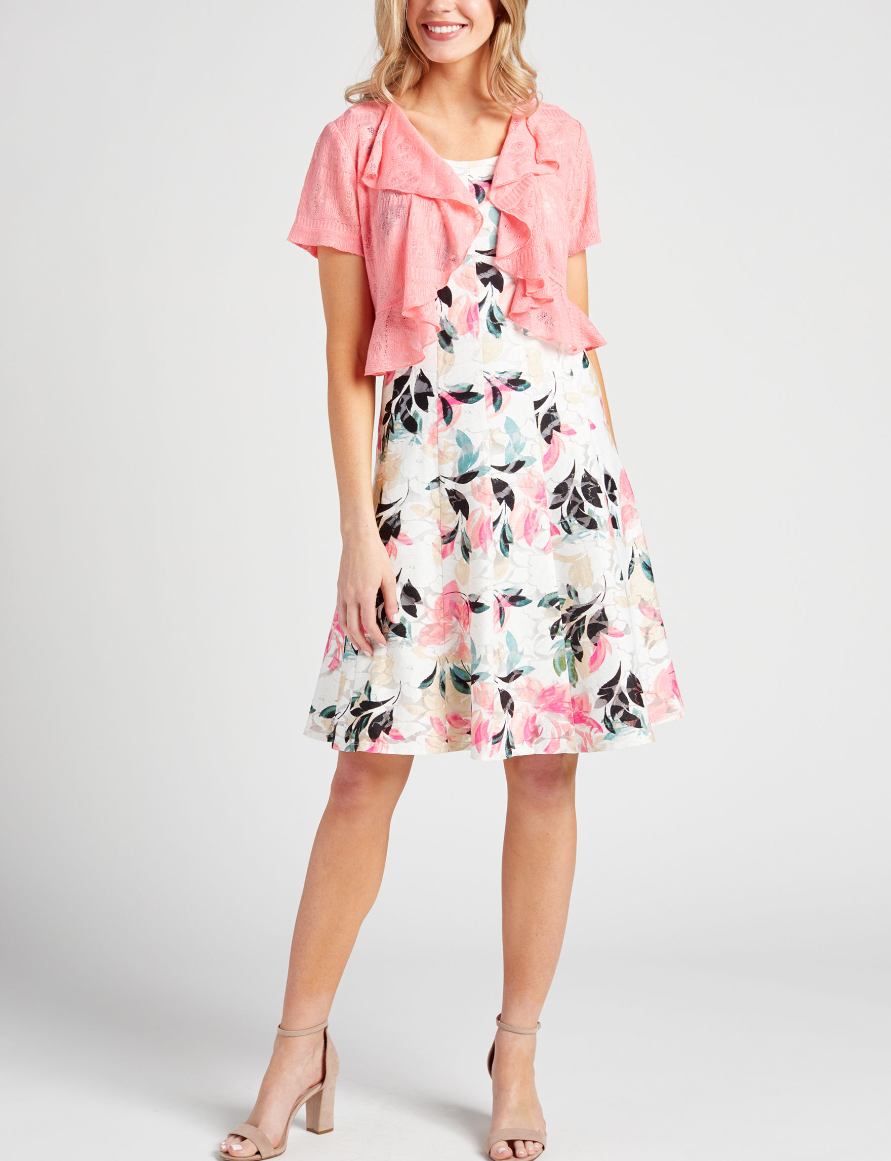 Perceptions White Floral Everyday & Casual Jacket Dresses Sheath Dresses